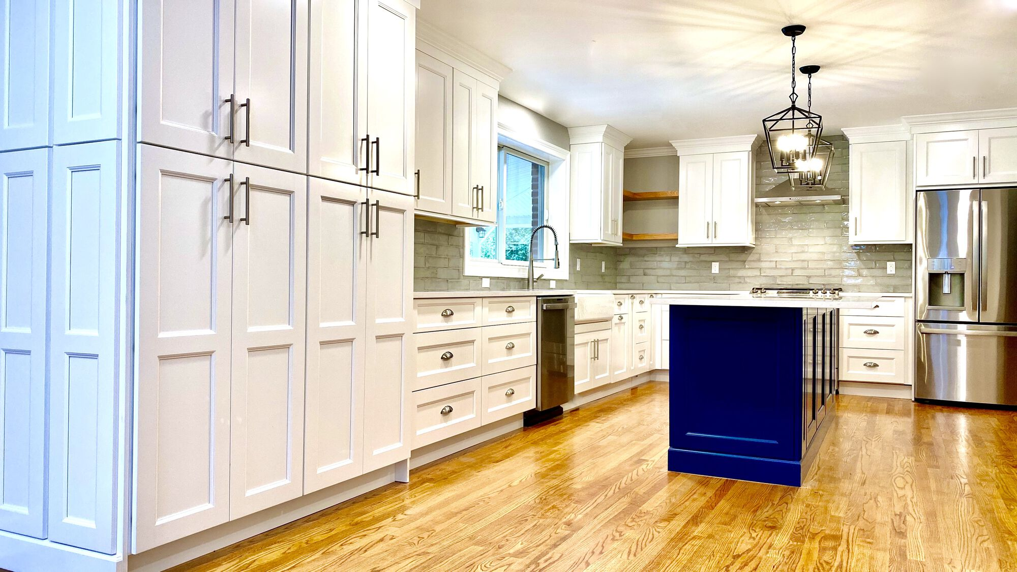 Kitchen Remodel with Wall Removed to Combine Kitchen and Dining, Windows Relocated, Wood Flooring to match existing, Wood Cabinetry with Custom Open Shelving in Bloomfield, Essex County NJ