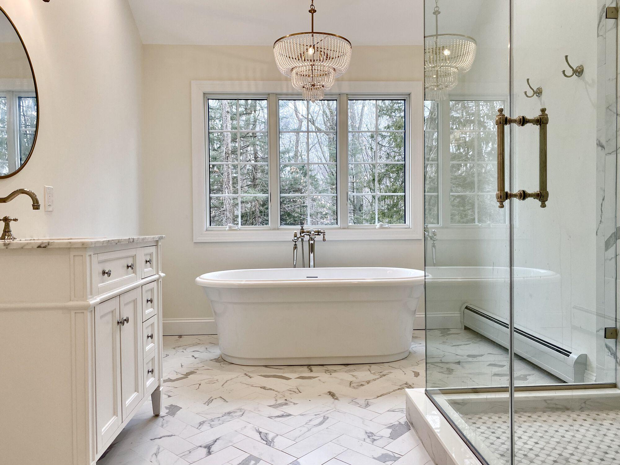 Master Bath with Freestanding Tub, Oversized Shower, Toilet Closet, Andersen Windows in Ramsey, Bergen County NJ