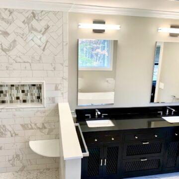 Bathroom Renovation with Custom Tile design, High Gloss Black Vanity in South Orange, Essex County New Jersey