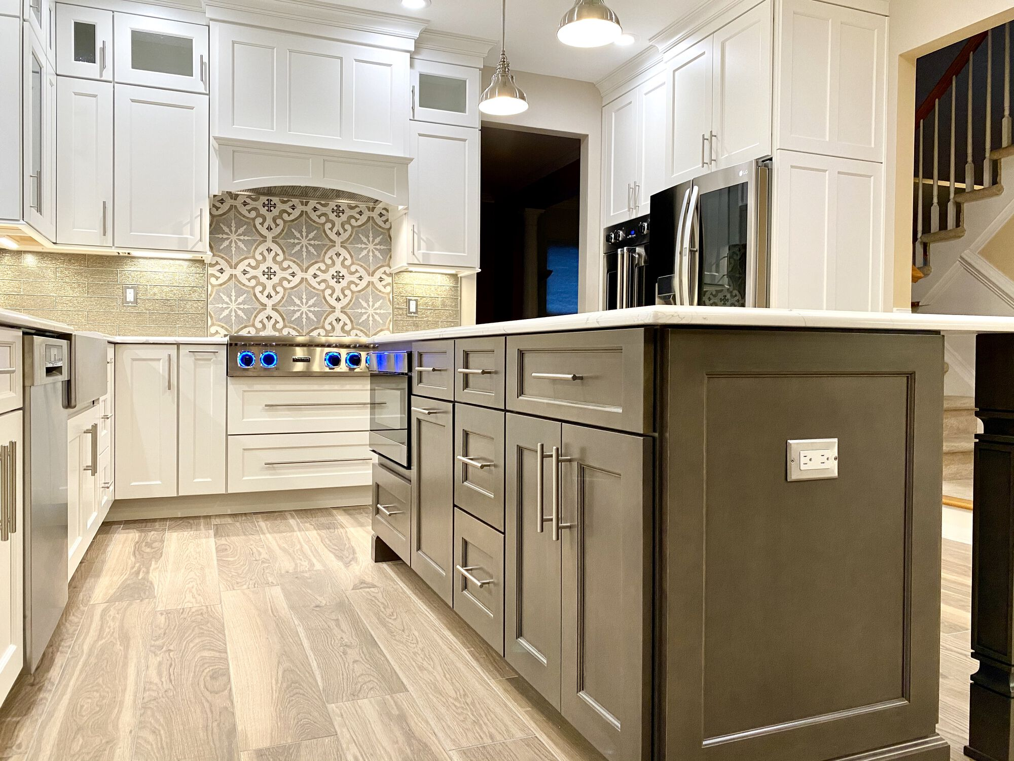 Brighton Cabinetry Maple Island with Seating, Cabinetry and Crown with Custom Wood Hood in Somerset NJ