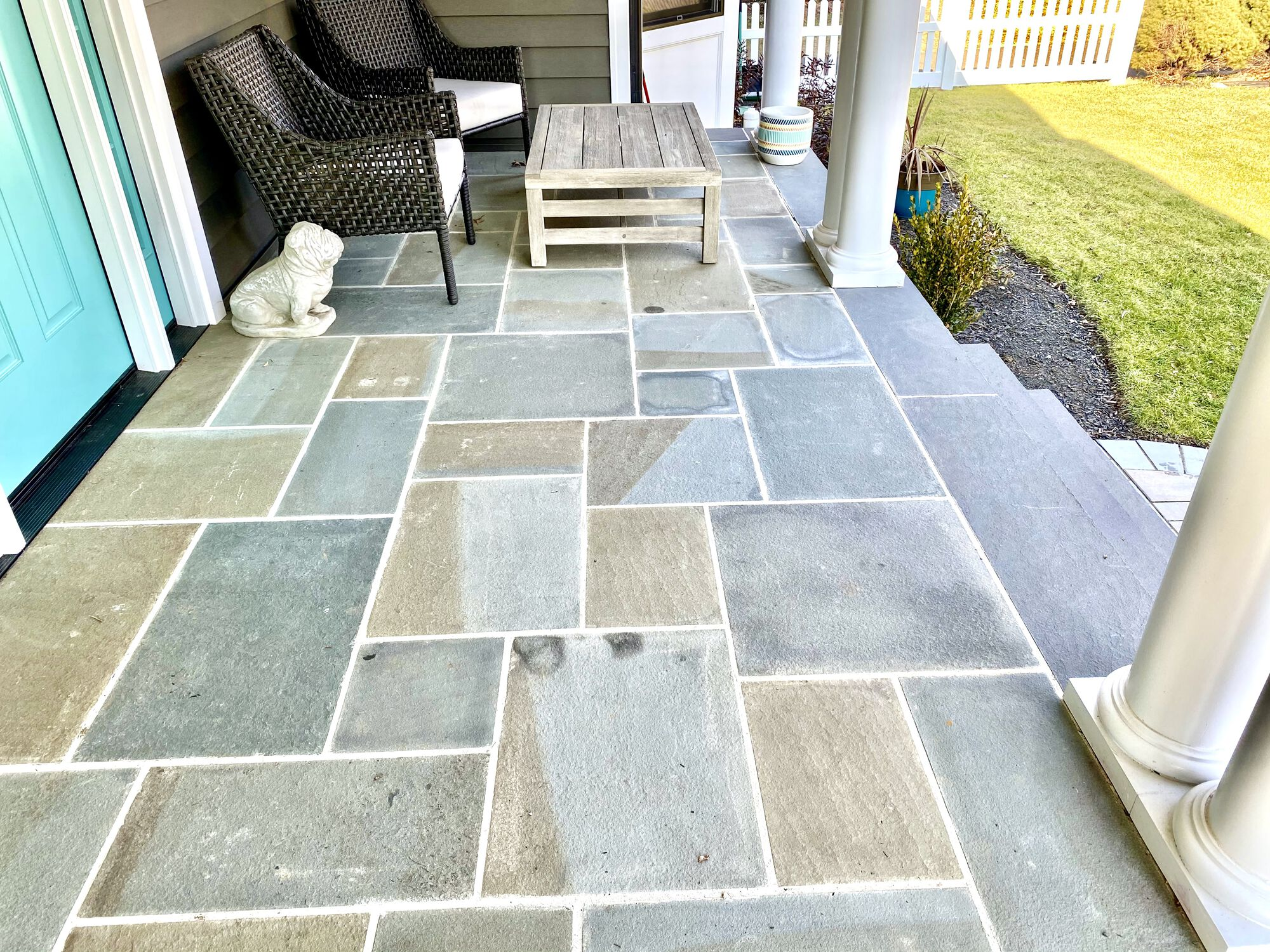Covered Bluestone Front Porch and Steps in New Milford, Bergen County NJ