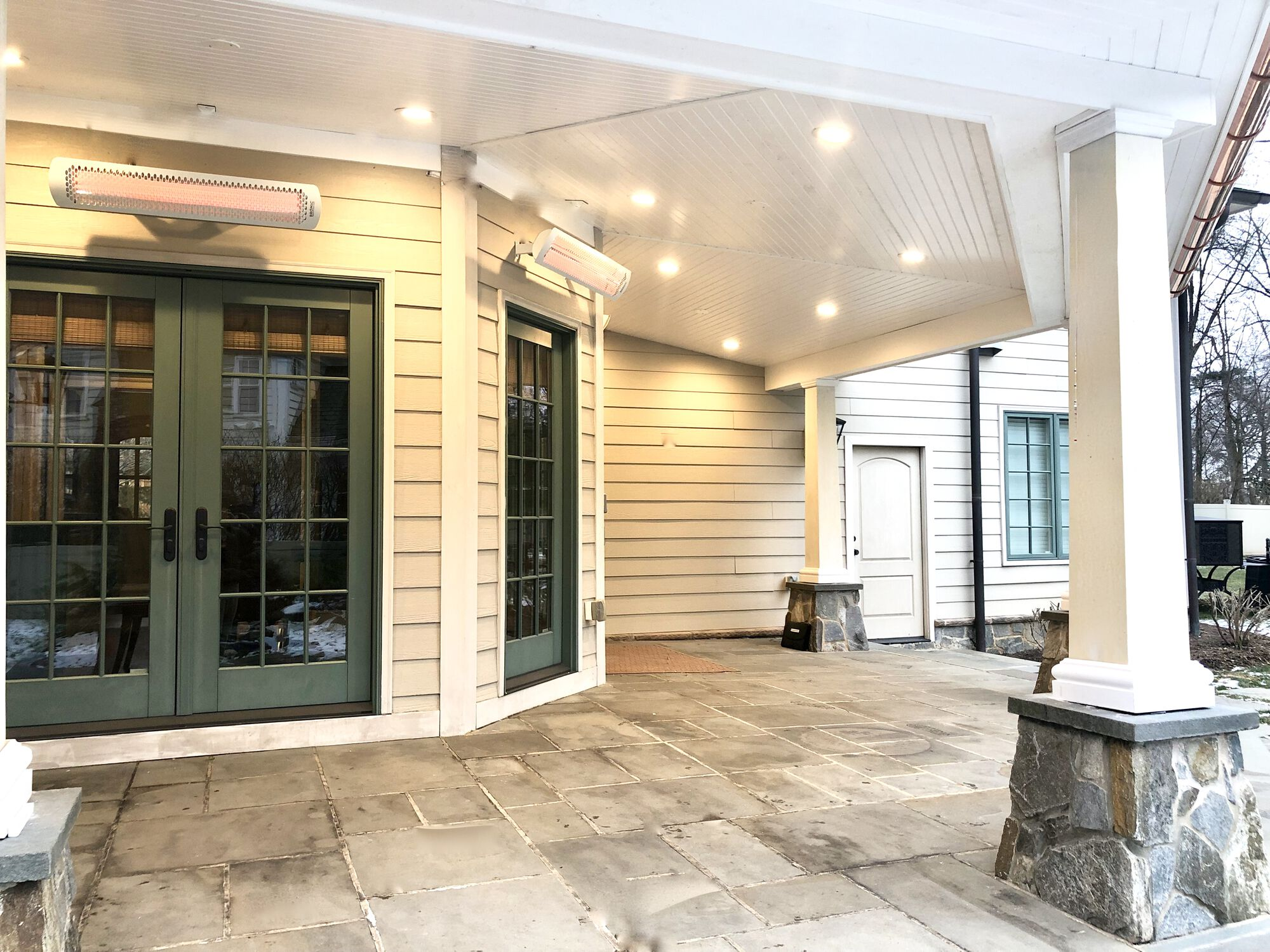 Covered Stone Porch with Azek Grooved Ceiling, Led Lighting, Radiant Heaters, in Madison, Morris County NJ