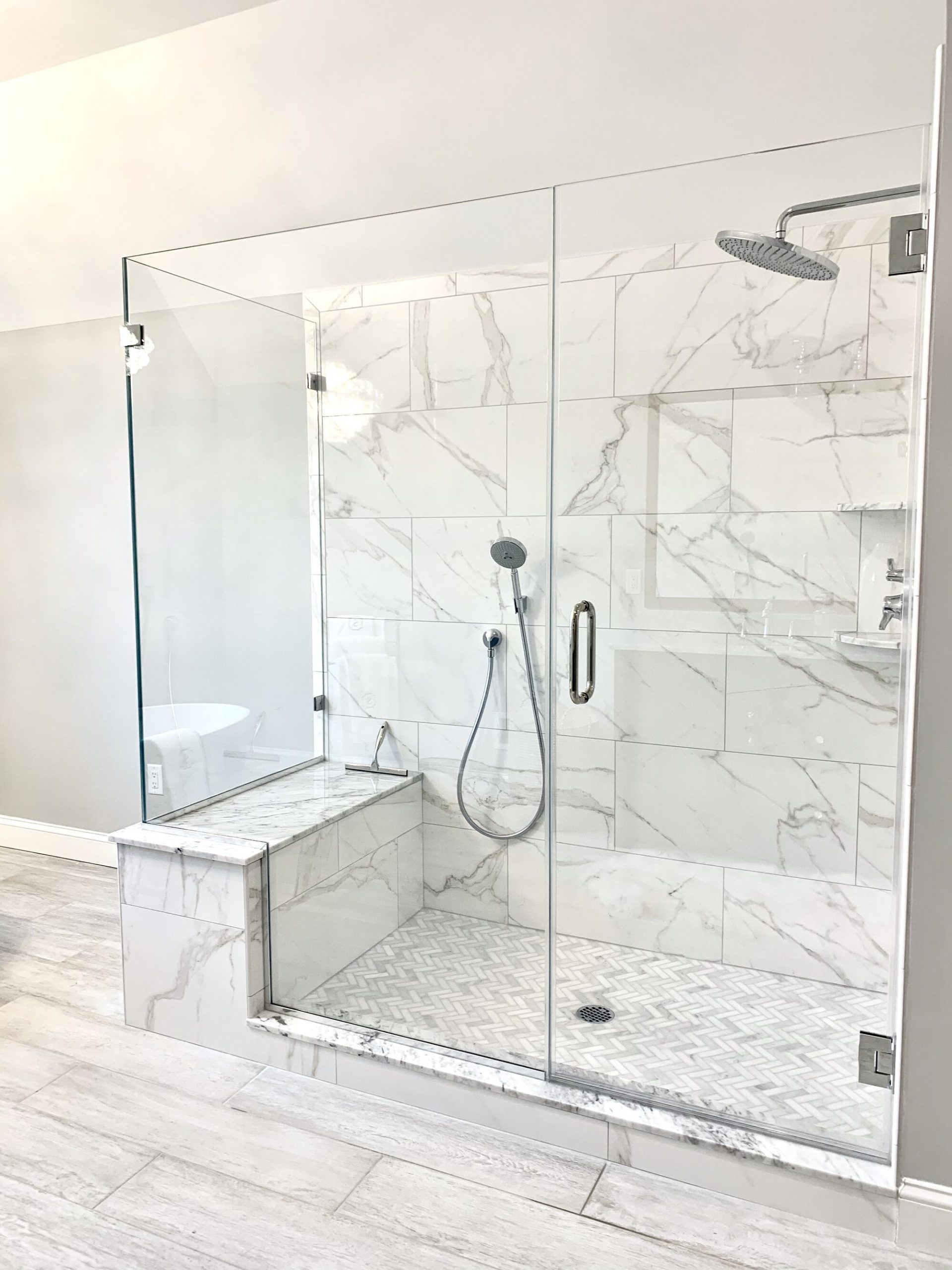 Master Shower with Bench and Custom Glass, Kohler Faucets and Hand-held in Sparta, Sussex County NJ