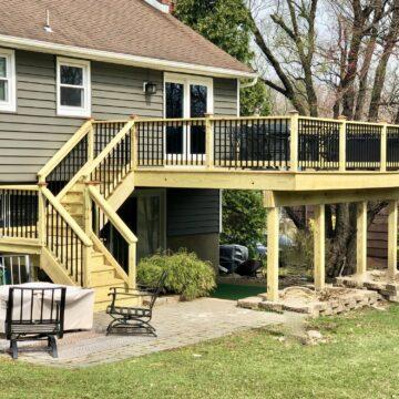 Treated Wood Deck with Aluminum Rails In Randolph, Morris County NJ