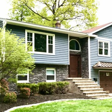 Alside Prodigy Insulated Clapboard 6_ Siding, Mezzo Windows, Boral Profit Stone, Therma-Tru Entry Door, Metal Roof Overhang in Morristown, Morris County NJ