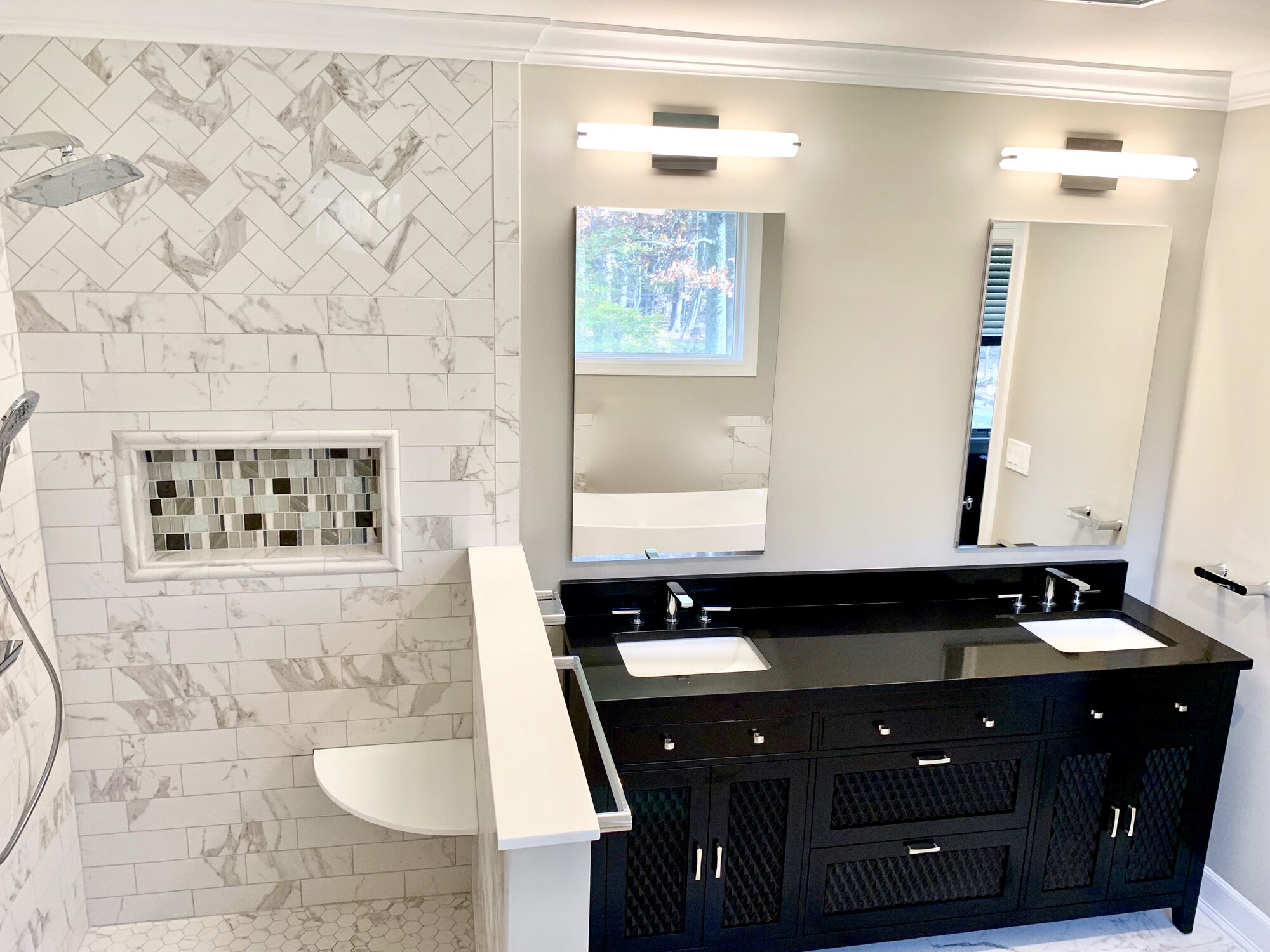 Black High Gloss Vanity, Custom Shower with Floating Bench in South Orange, Essex County NJ