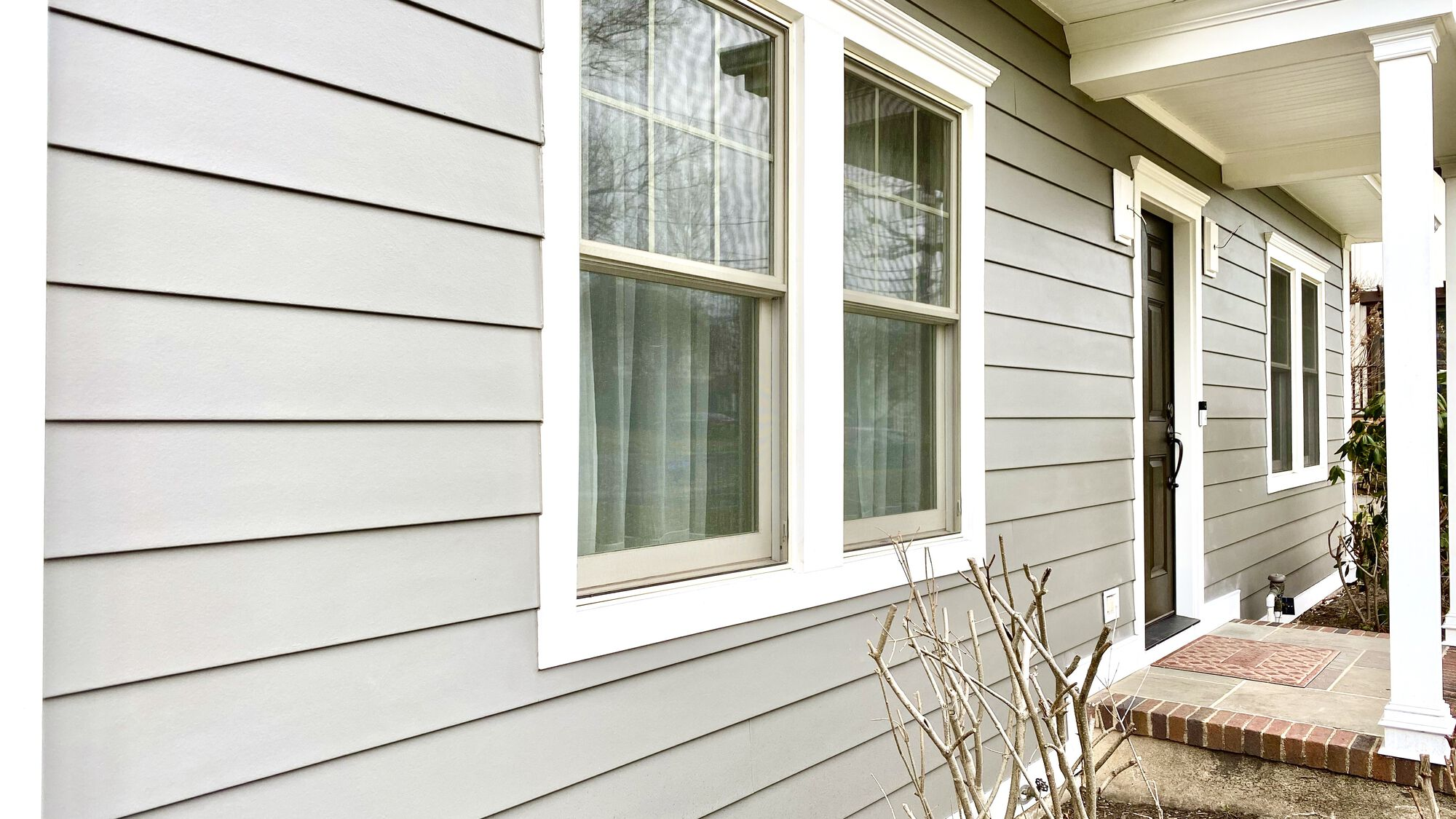 Hardie Fiber Cement Smooth Finish Siding with Azek Trim and Crown Headers in Westfield, Union County NJ