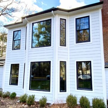 James Hardie & Smooth Plank Siding with Azek Trim and Black Gutters in Ramsey, Bergen County NJ
