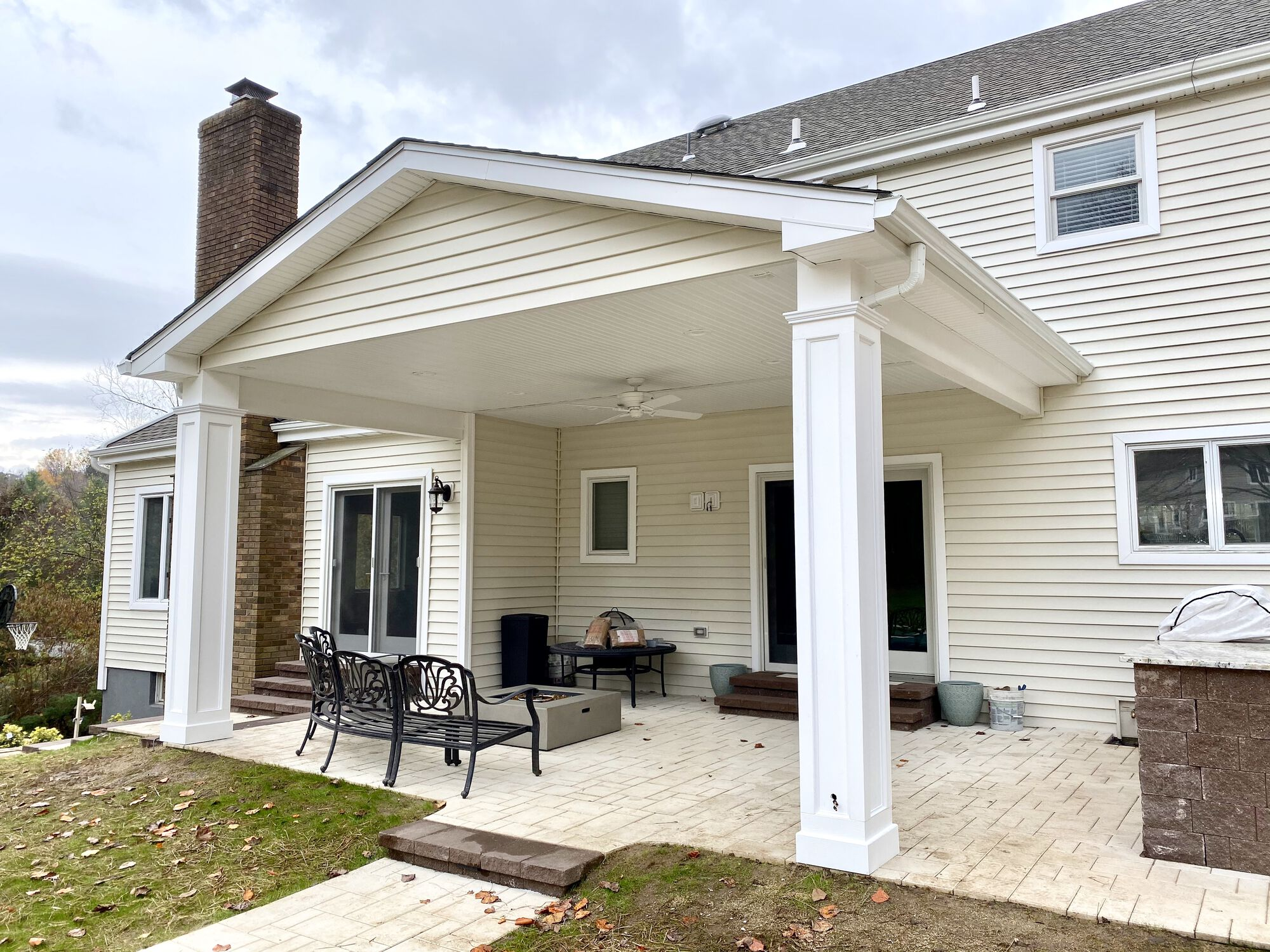 Portico Covered Cambridge Paver Patio, Charter Oak Siding, GAF Roofing in Upper Saddle River, Bergen County NJ