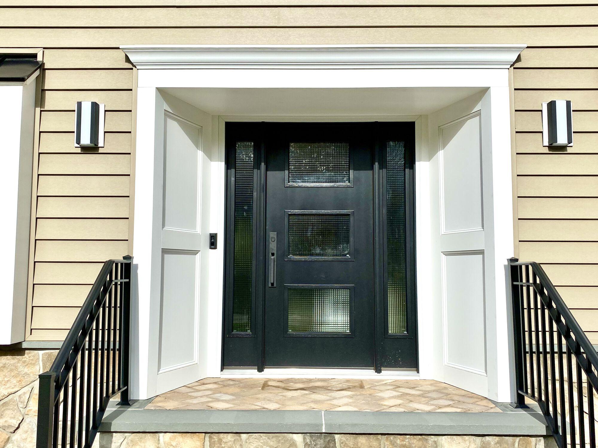 Azek Trim and Recessed Panels, Alside Windows, Therma-Tru Entry Door in Randolph, Morris County NJ