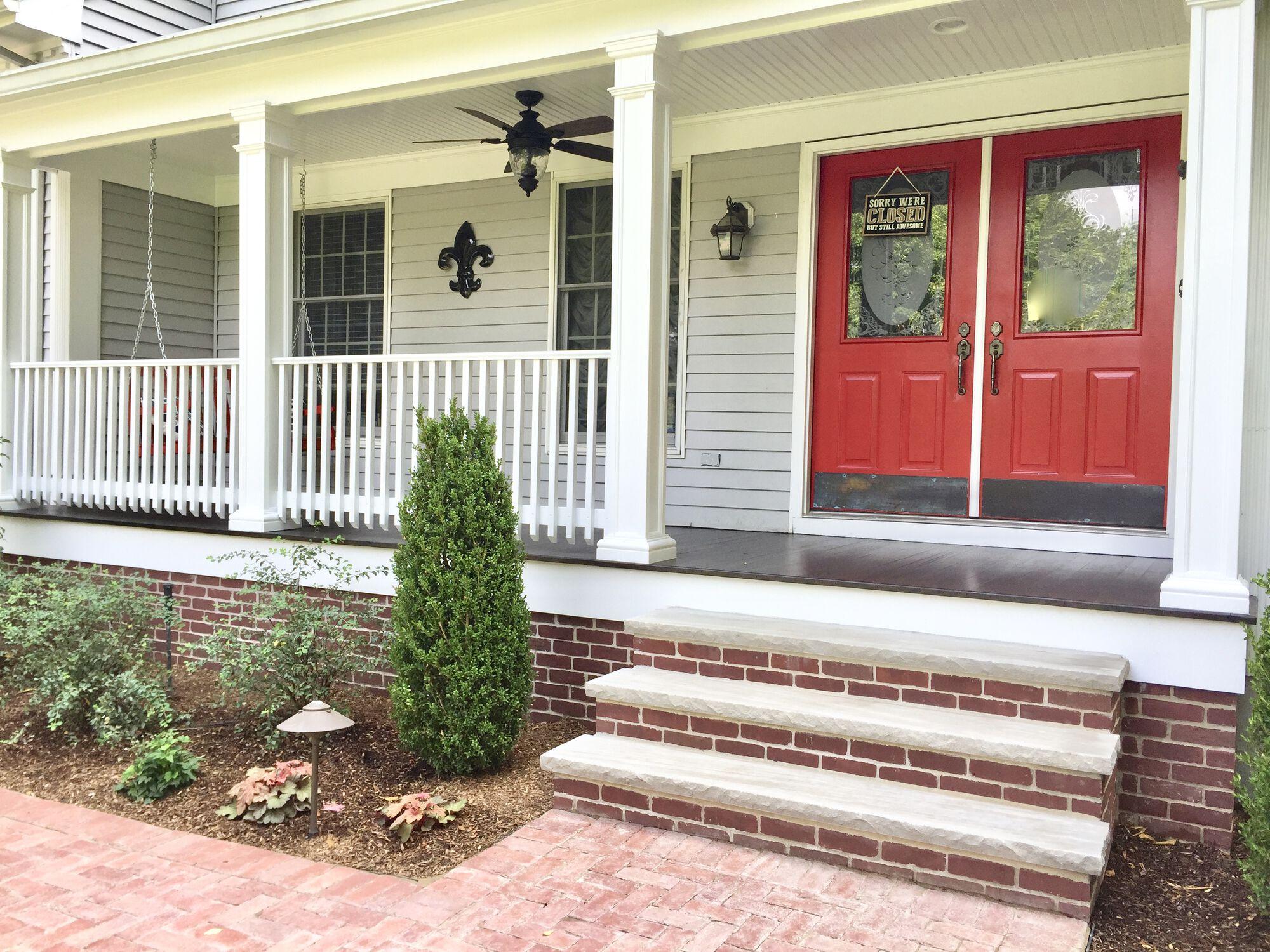 Brick Porch with Mahogany Flooring in Ramsey, Bergen County NJ