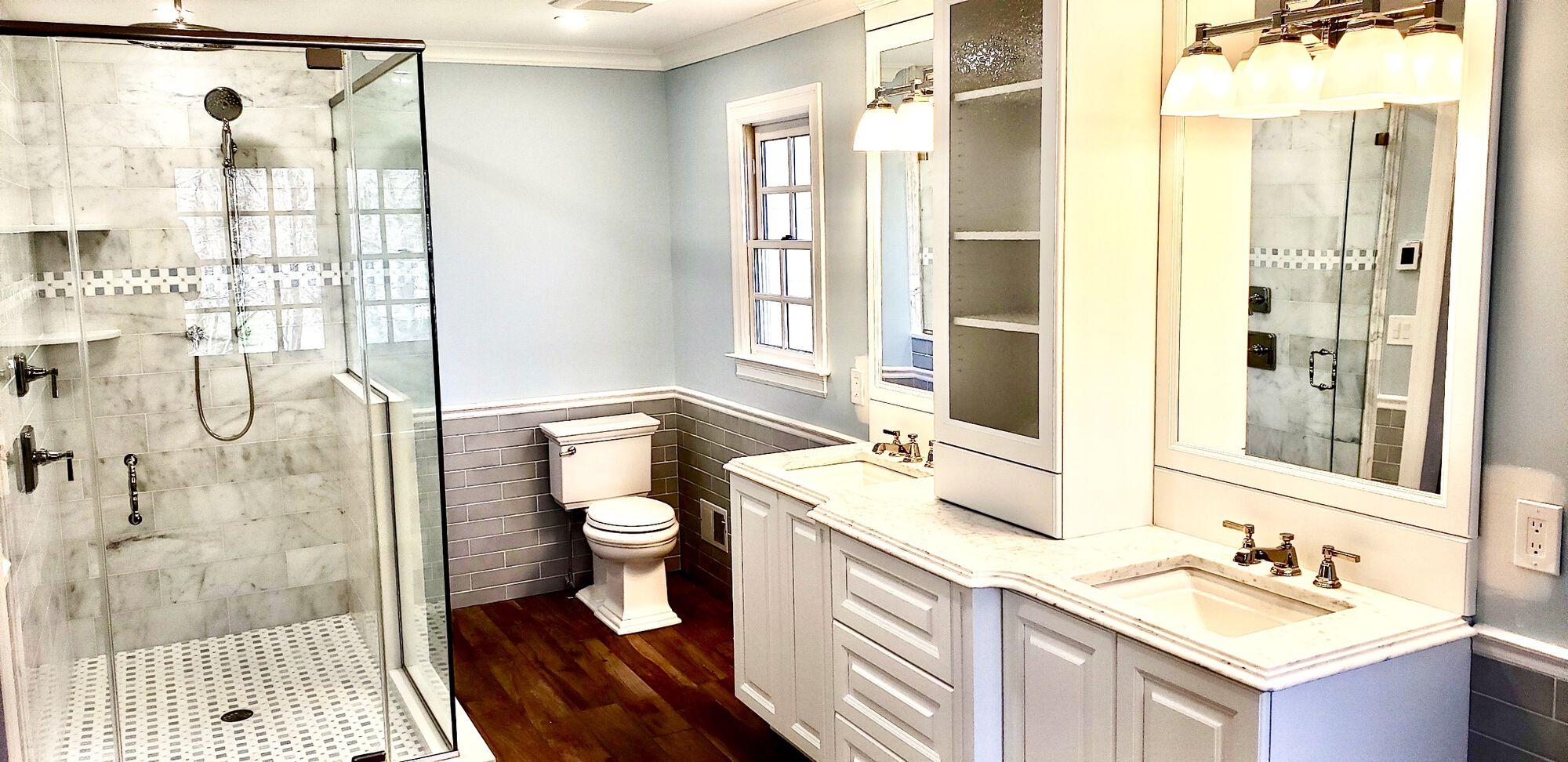 Custom Cabinet with Storage Tower, Porcelain Subway, Wood Plank Porcelain Tile, Glass Enclosure in North NJ