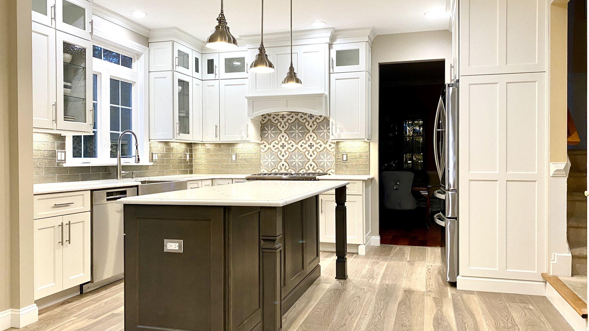 Custom Kitchen Reno with Brighton Cabinetry, Quartz Tops, Glass Tile Backsplash, Porcelain Tile Floor, LED Under-Cabinet Lighting In Central NJ