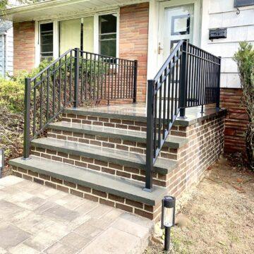 Brick Steps with Bluestone Treads and Platform and Aluminum Rails in West Orange, Essex County NJ