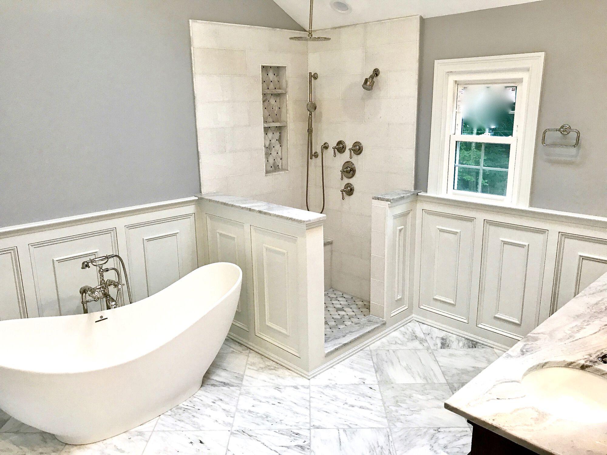 Freestanding Tub, Shower with Overhead, Marble Floor, Millwork Paneled Walls, Floor Mounted Filler in Basking Ridge, Somerset County NJ