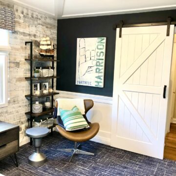 Bedroom Remodeling with Barn Door, Wood Paneling and Trim, Stickwood, New Flooring in Union NJ
