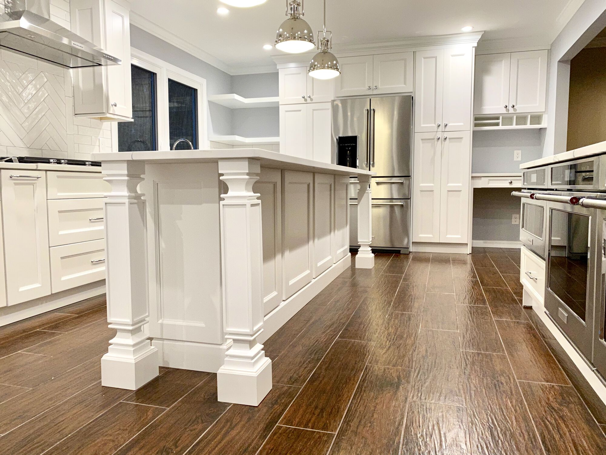 Shaker Style Cabinets, Island with Seating, Open Seating, Tile Flooring in Montville, Morris County NJ