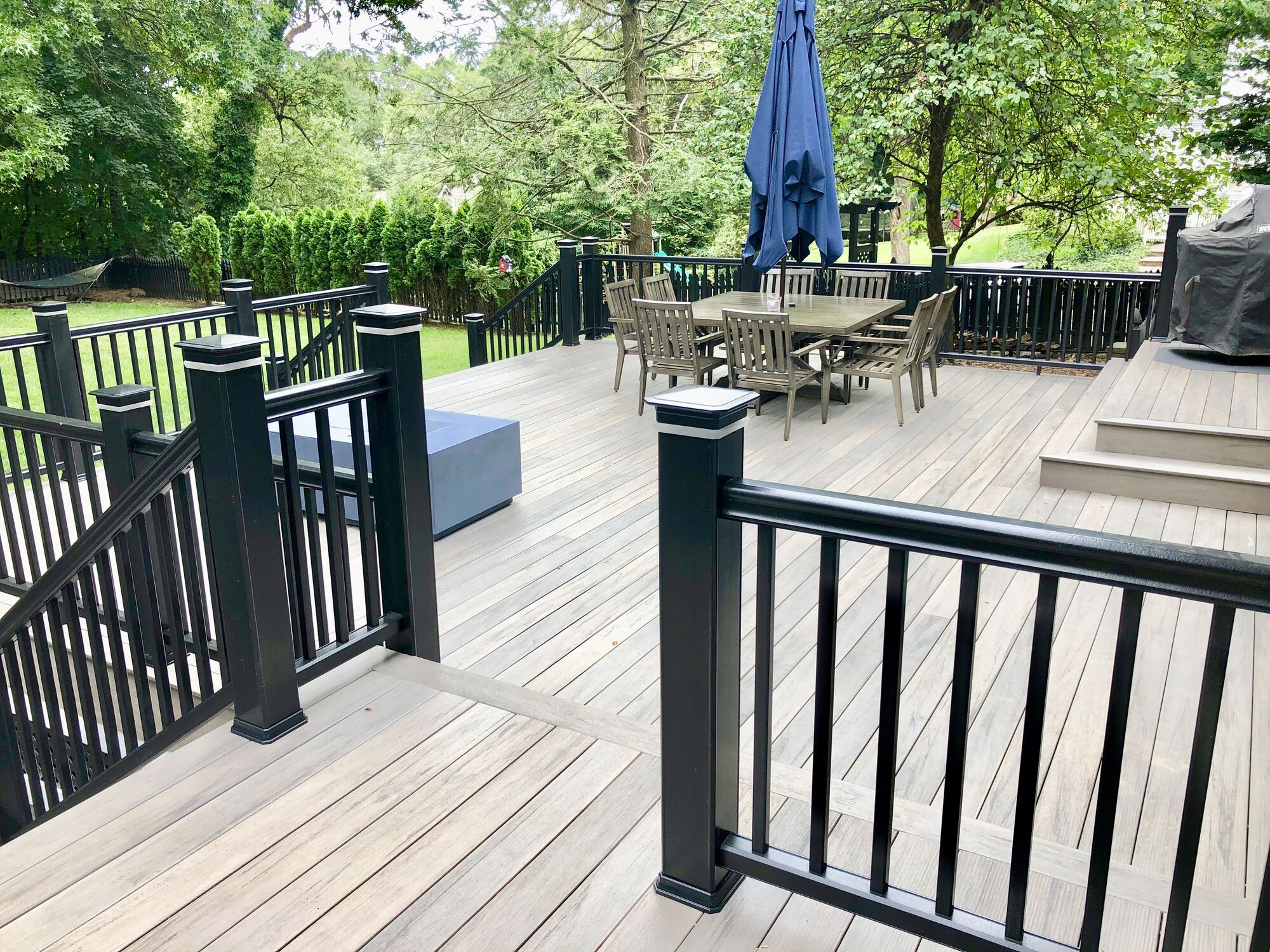 TimberTech Pro Legacy Collection Ashwood Color Decking with Black Radiance Rails, LED Post Cap Lighting in Glen rock, Bergen County NJ