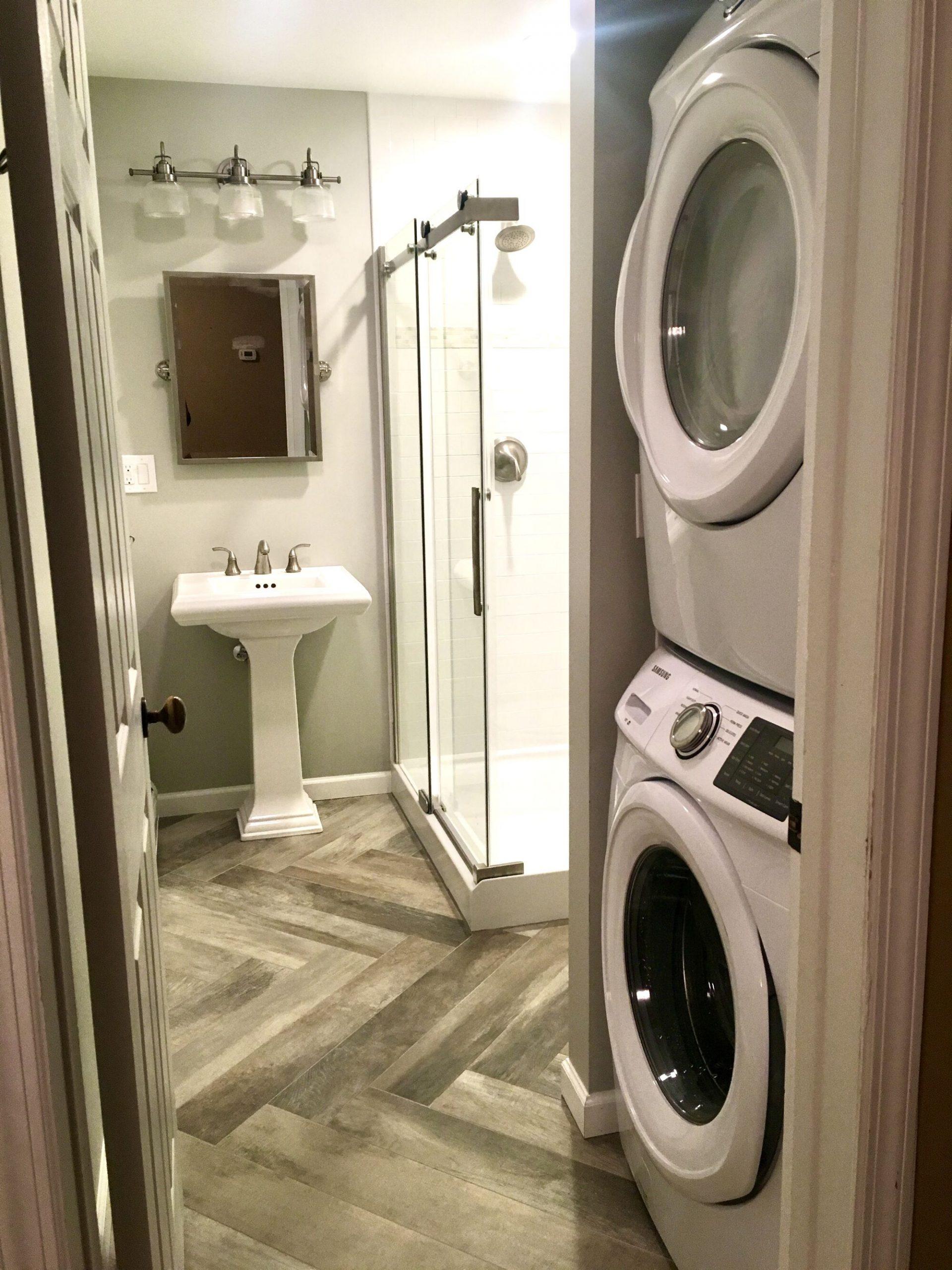 Basement Bathroom with Laundry in Tenafly, Bergen County NJ