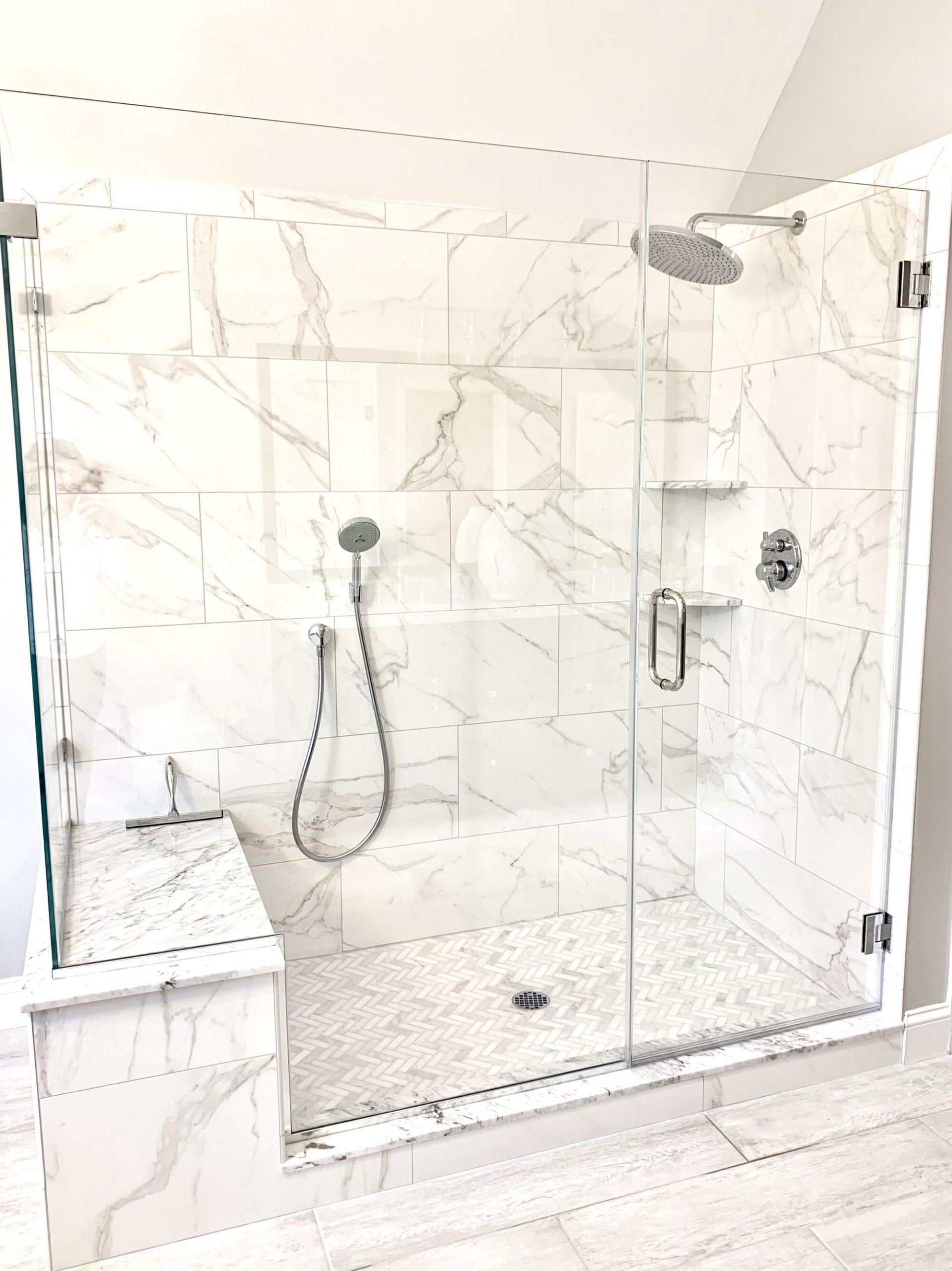 Kohler Kallista Satin Nickel Rainshower, Porcelain 12 x 24 Tiles, 1 x 3 Herringbone Shower Floor in Sparta, Sussex County NJ
