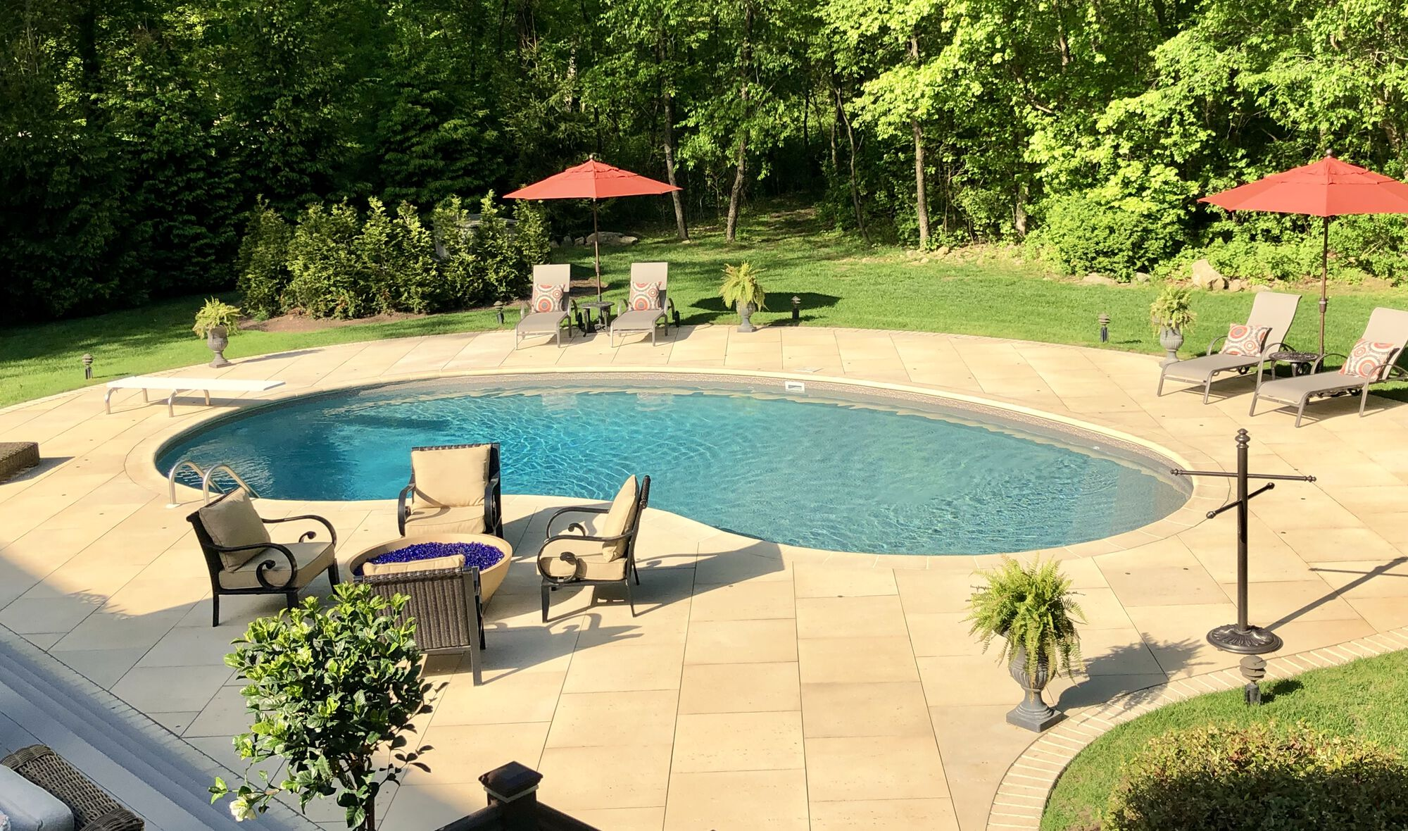 Techo Bloc Travertina Pavers and Pool Coping in Sussex County NJ