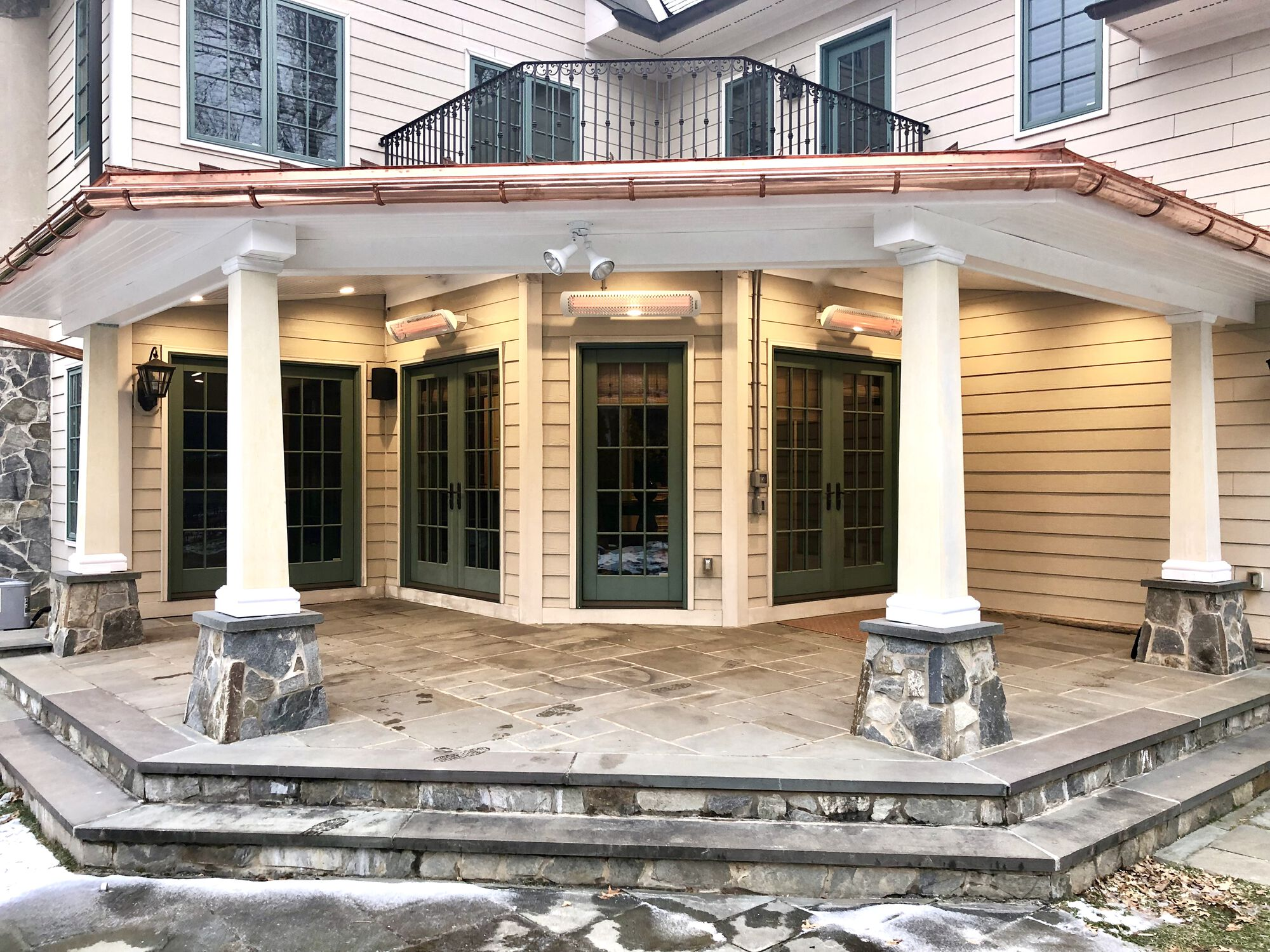 Covered Stone Porch with Copper Roof, Led Lighting, Radiant Heaters, HBG Craftsman Columns in Madison, Morris County NJ