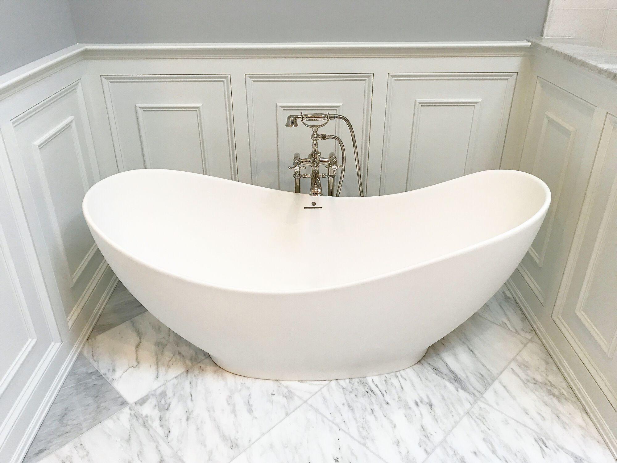 Master Bath Soaking Tub, Millwork Paneled Walls, Floor Mounted Filler in Basking Ridge NJ