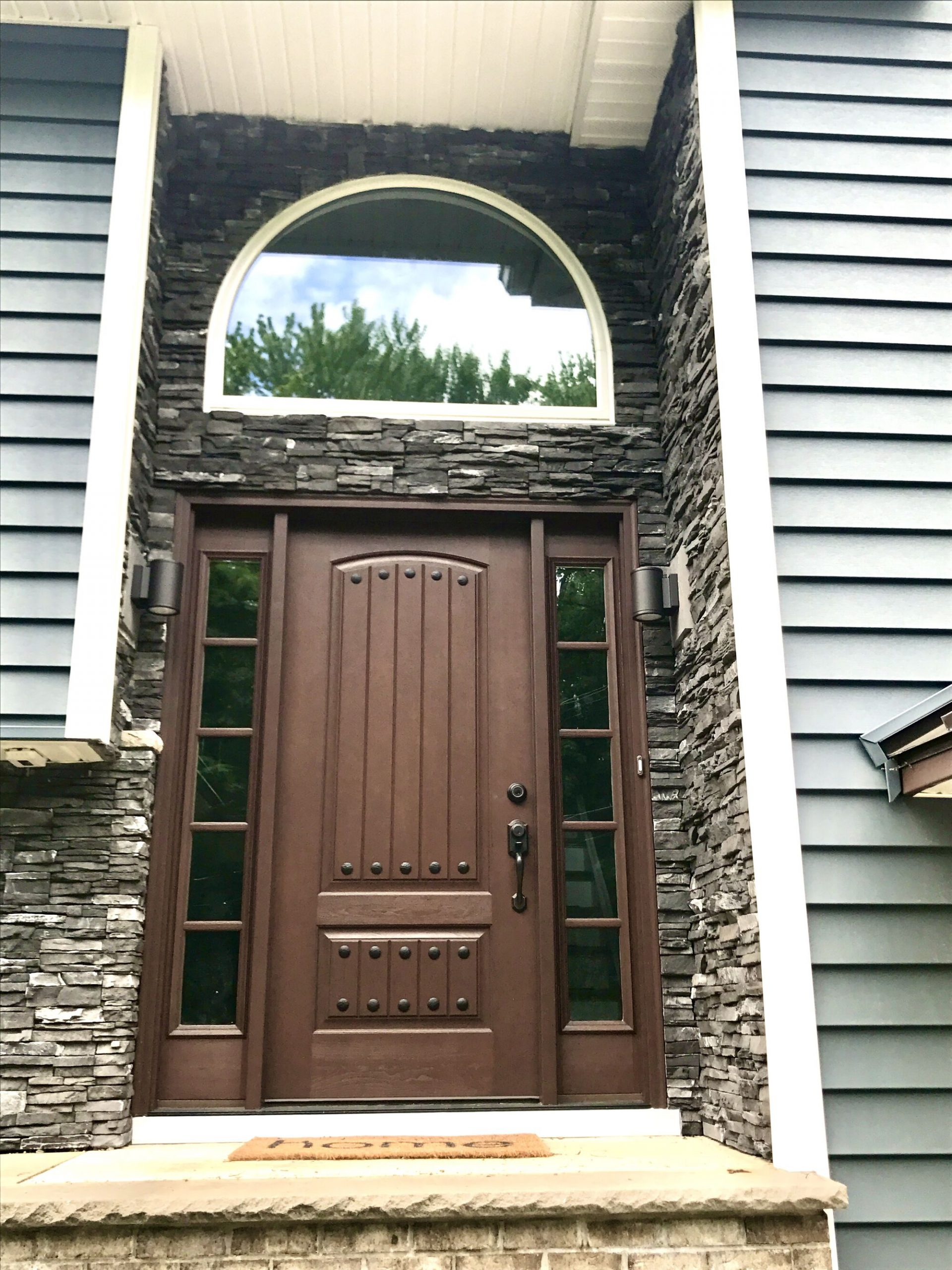 Therma Tru Entry Door, Custom Window, Boral Stone in Morristown, Morris County NJ