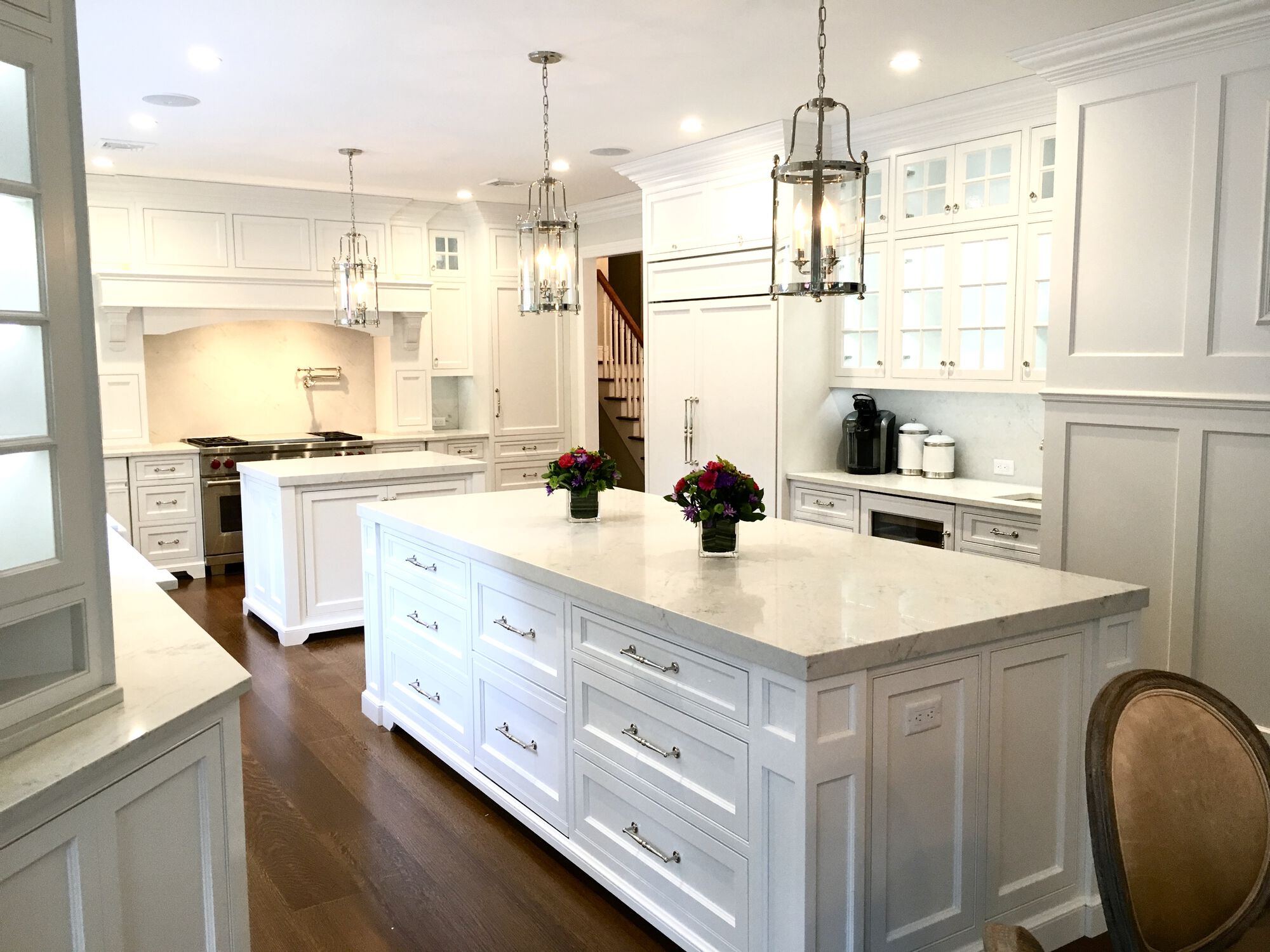 Kitchen with 2 Islands, 8_ Rift Only White Oak Floors, Full Backsplash, Sub-Zero Wolf Appliances, Andersen Windows and Doors in Sussex County NJ