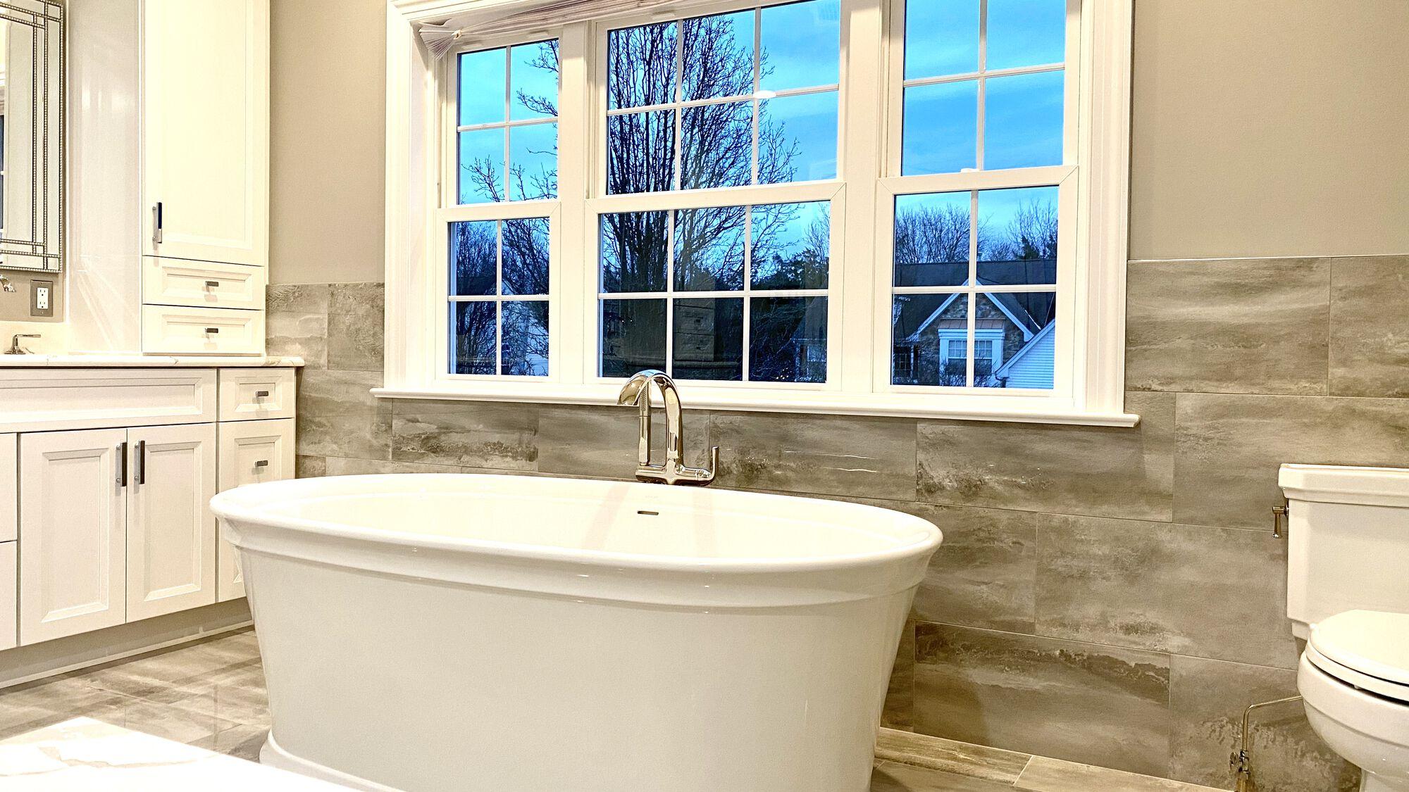 Master Bath with Kohler Soaking Tub and Kallista Faucets, Porcelain Tile in Somerset County NJ