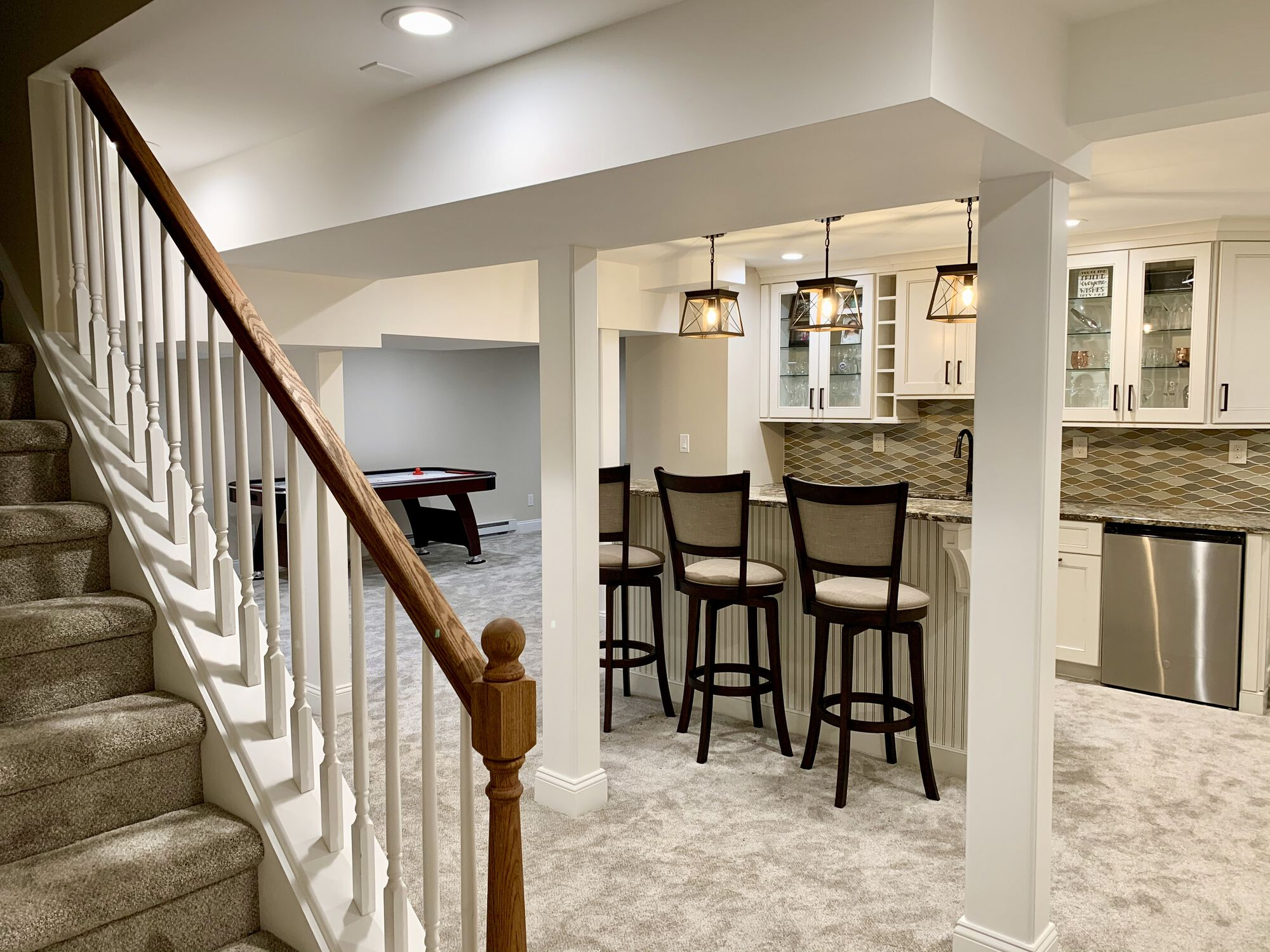 Basement with Game Area, Wet Bar, Bathroom and Laundry in Hillsborough, Somerset NJ