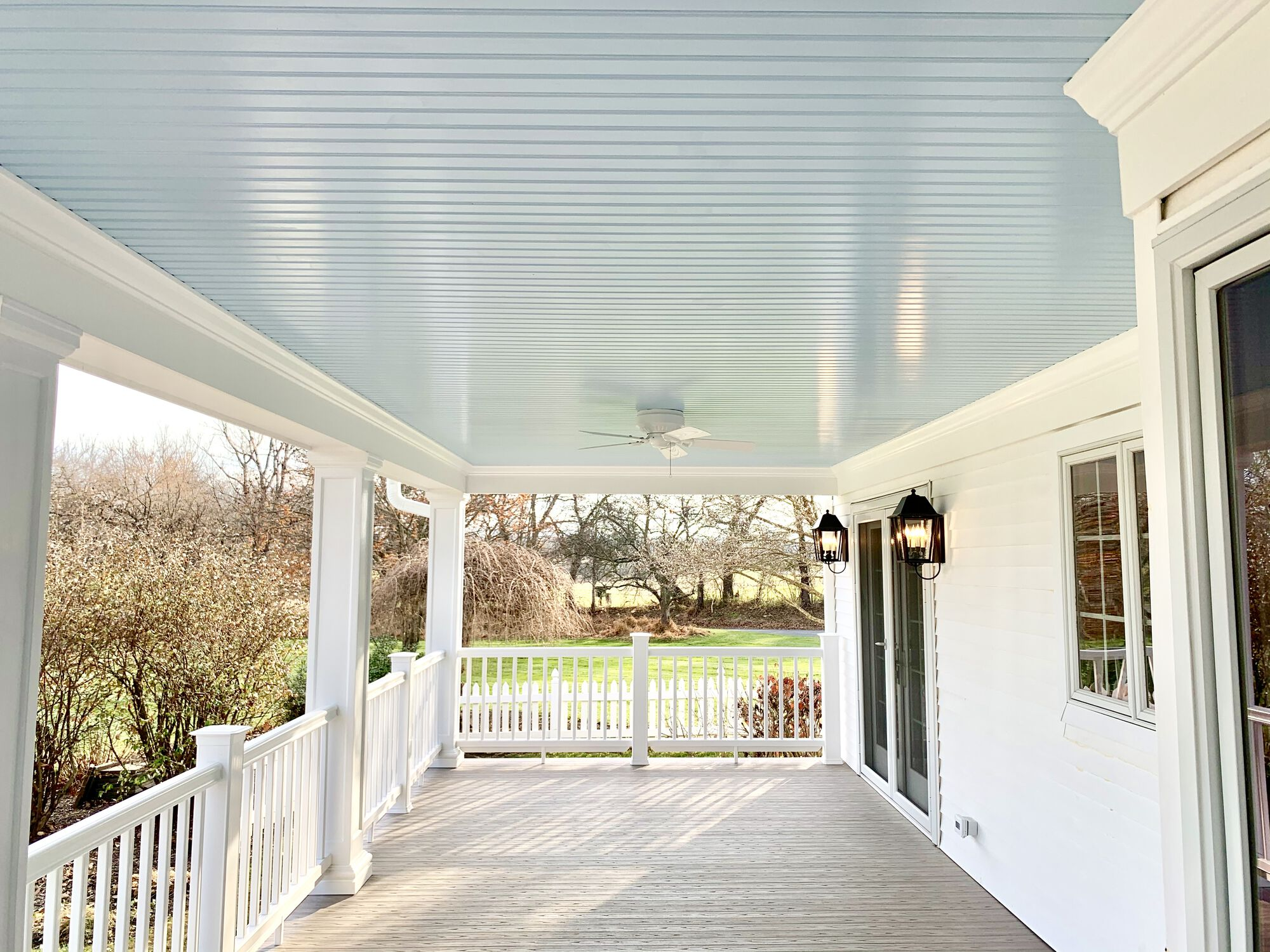 Covered Porch with Azek Composite Grooved Decking, Timbertech Radiance Rails, Grooved Ceiling in Washington, Warren County NJ