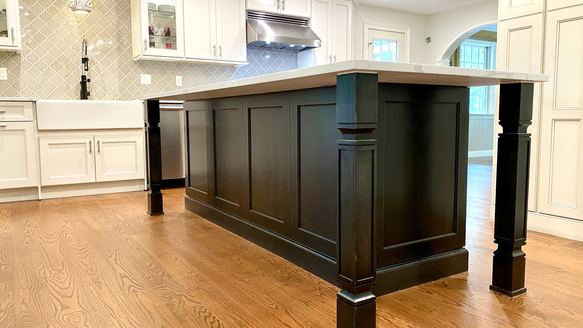 Kitchen Remodel with Island with Seating, Viking Appliances, Quarts Tops, In Cabinet Lights in Mahwah, Bergen County NJ
