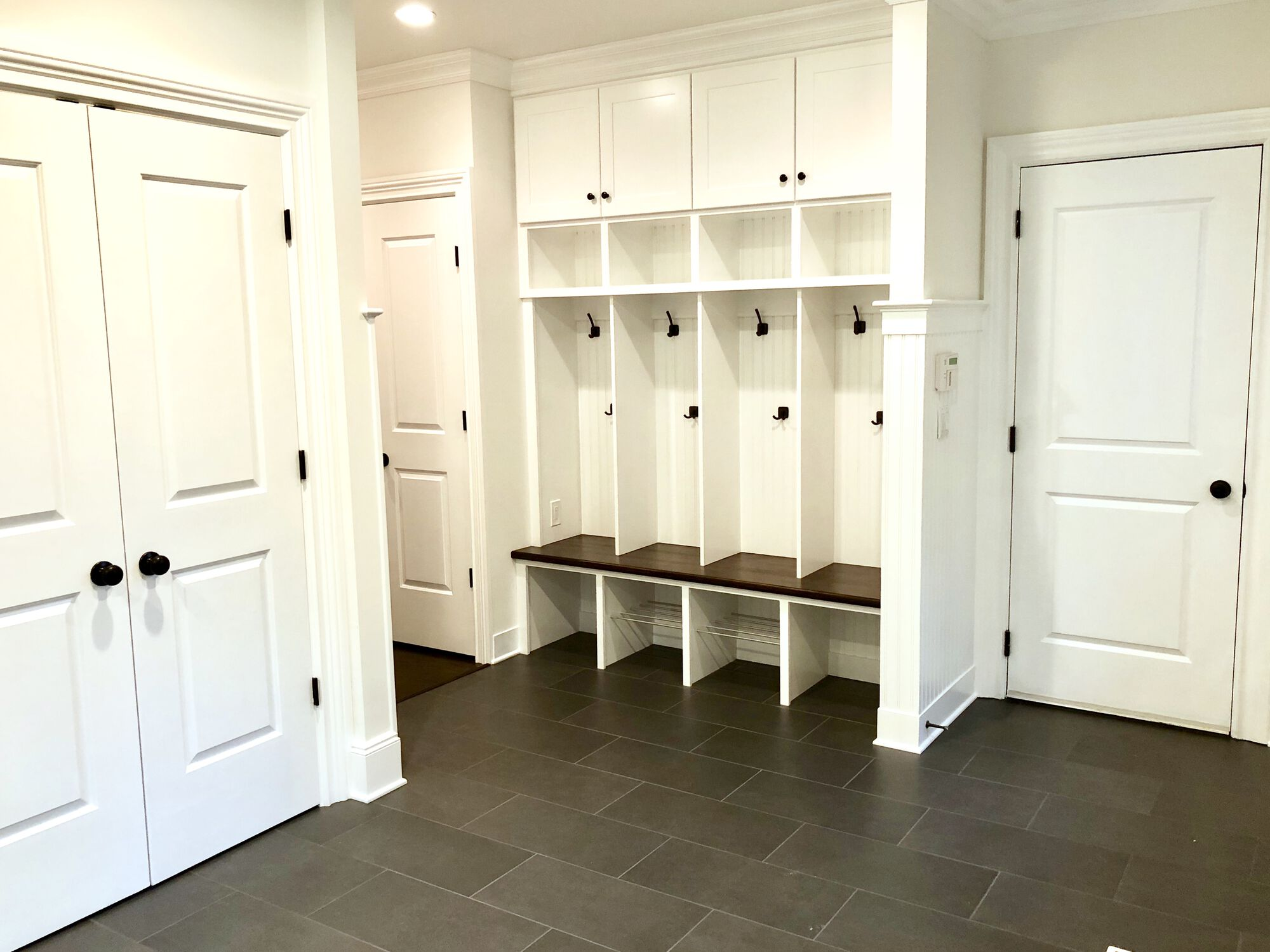 Porch Mudroom Addition with Custom Bench and Cubbies in Haworth, Bergen County NJ