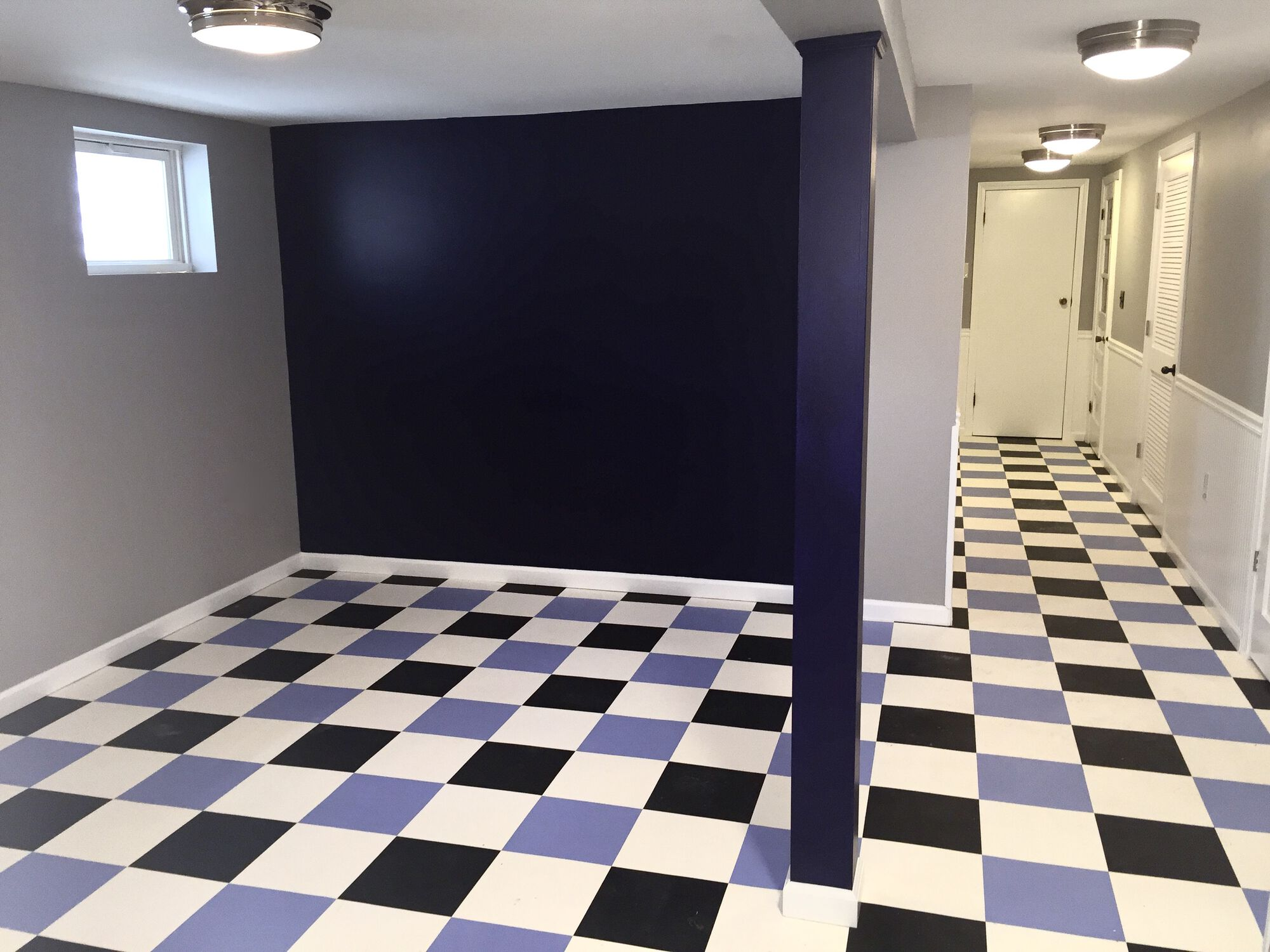 Basement Finishing with Vinyl Floating Floor, TV Family Room, Laundry and Storage in Jersey City, Hudson County NJ