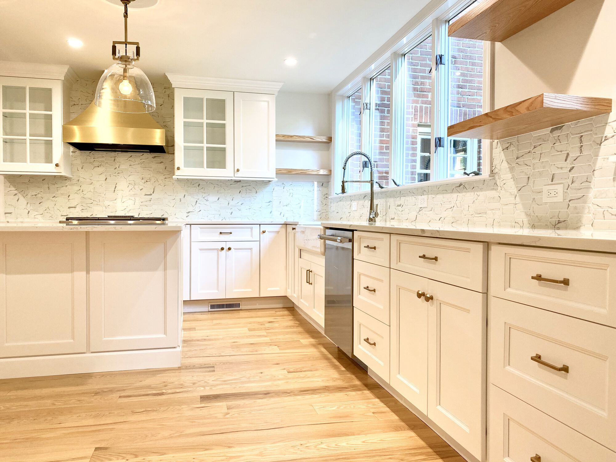 New Kitchen in Essex County NJ with Open Shelving, White Shaker Cabinets, Oak Flooring