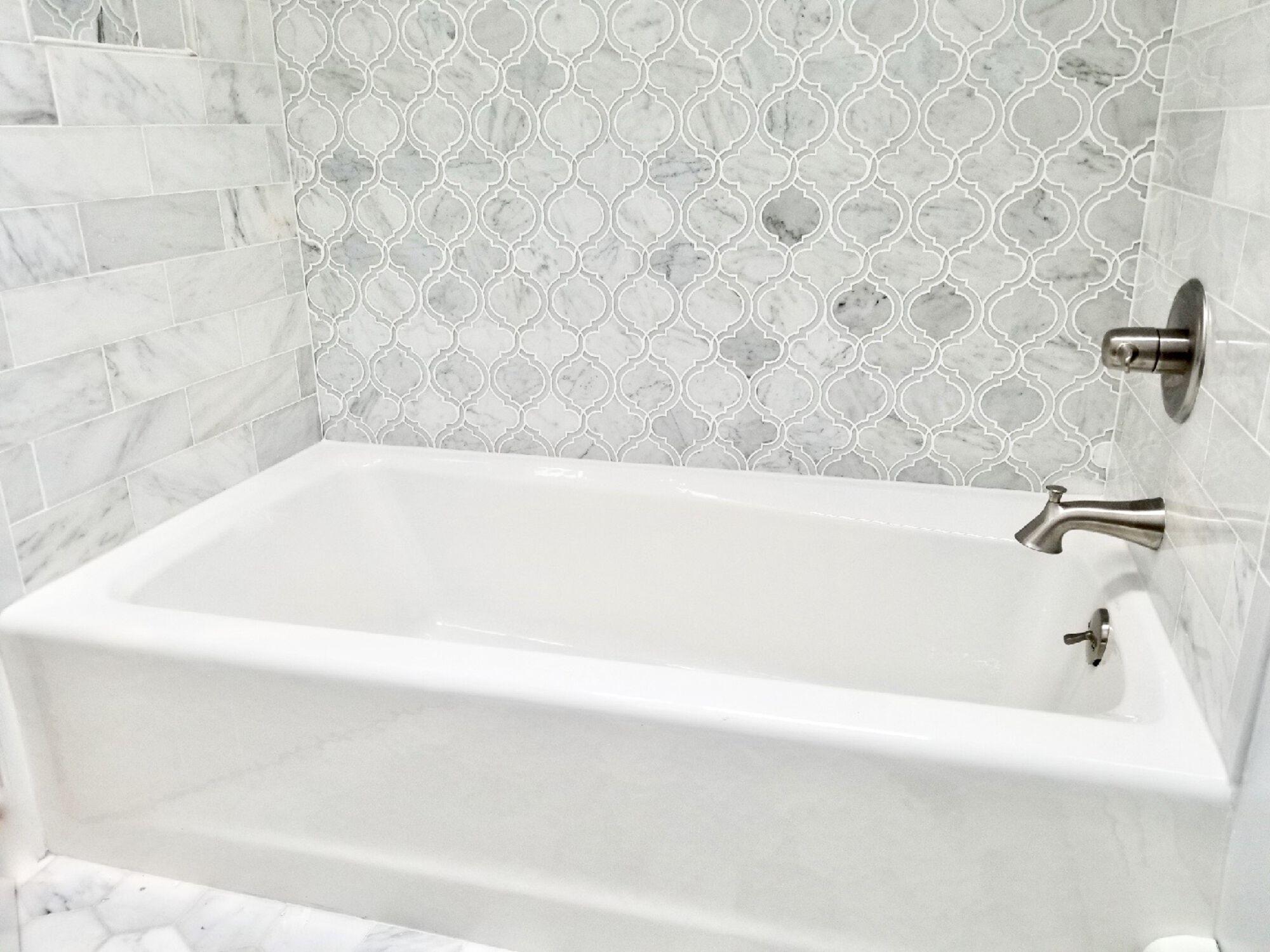 Oradell, Bergen County Custom Tiled Tub Wet Walls