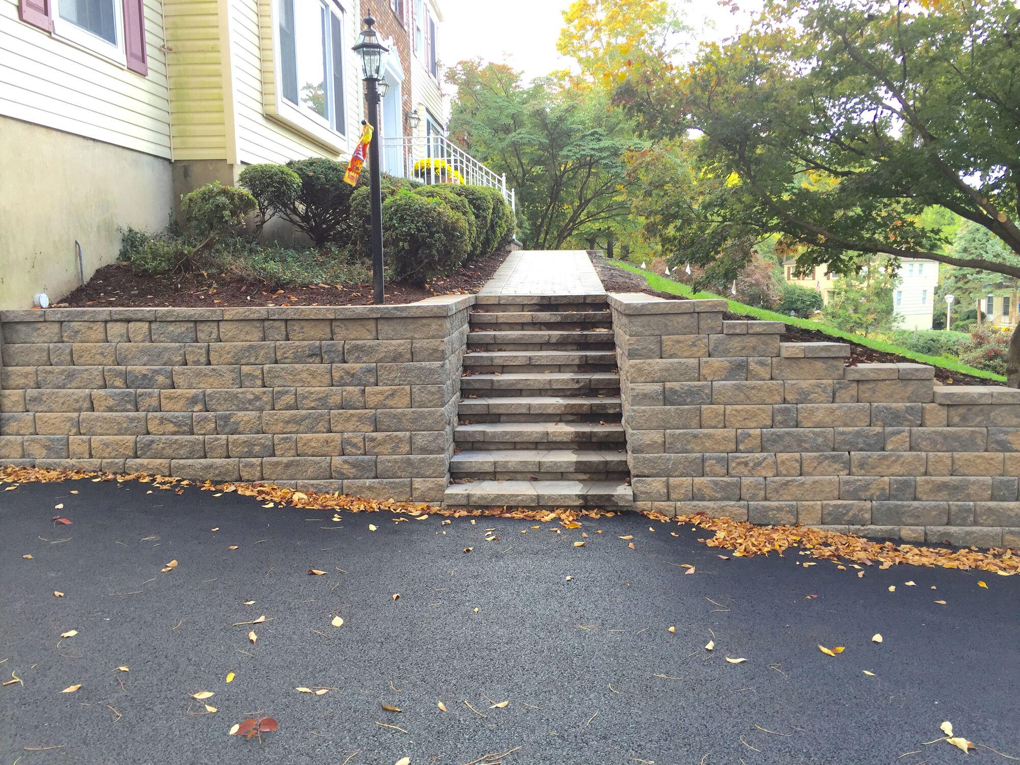 Segmental Retaining Walls, Steps, Paver Walkway and Asphalt Driveway in Berkeley Heights NJ
