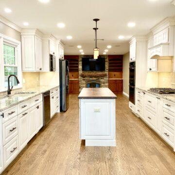 Brighton Maple Oatmeal Kitchen Cabinetry with Black Walnut Countertops in Rockaway, Morris County NJ