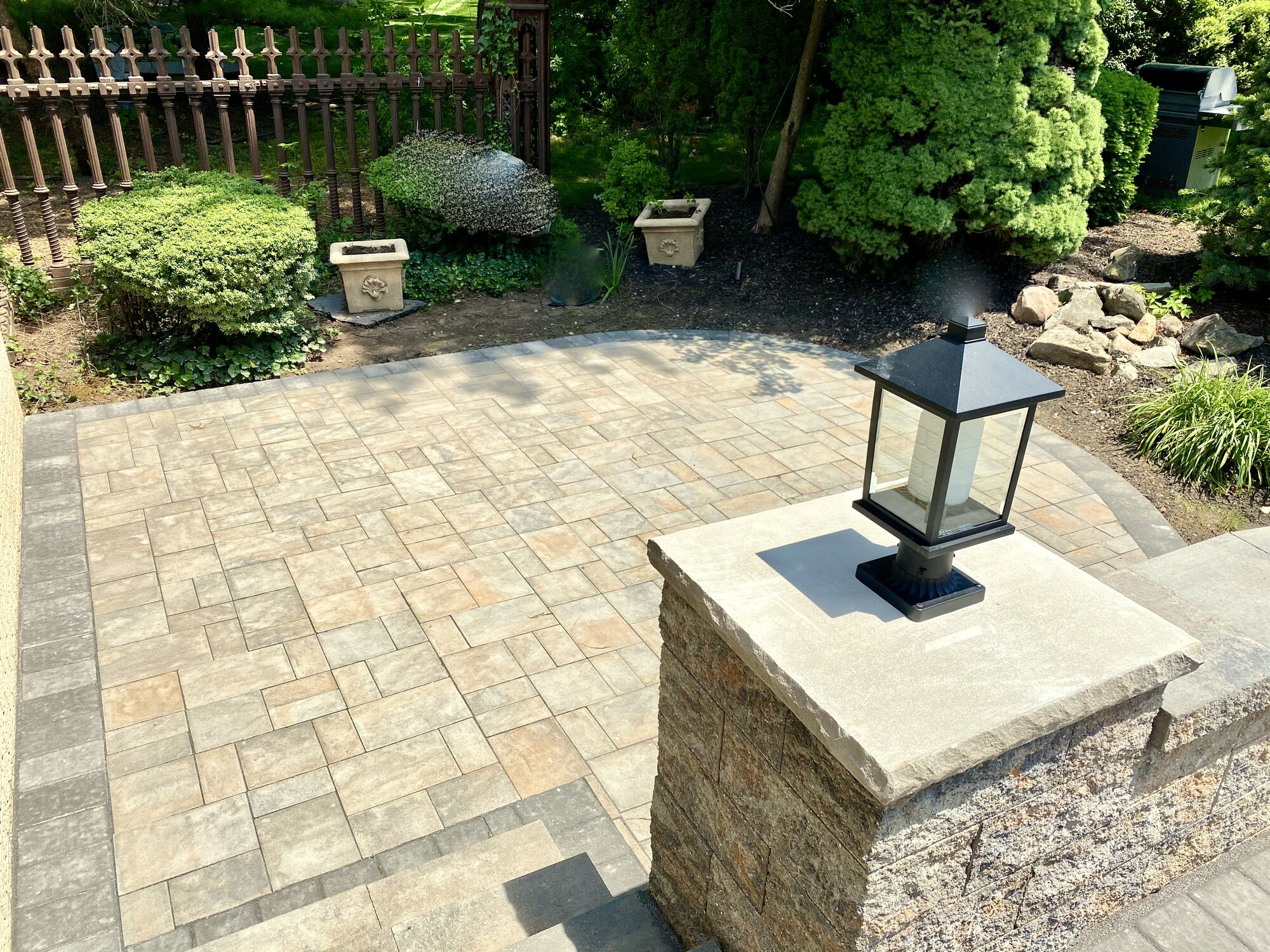 Cambridge Paver Patio, Matching Piers and Lighting in Oradell, Bergen County NJ