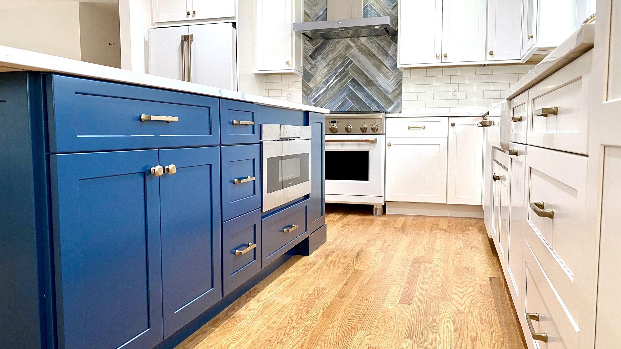 Custom Color Blue Island, Herringbone Tile and Subway Backsplash, GE Cafe Appliances in Berkeley Heights, Union County NJ