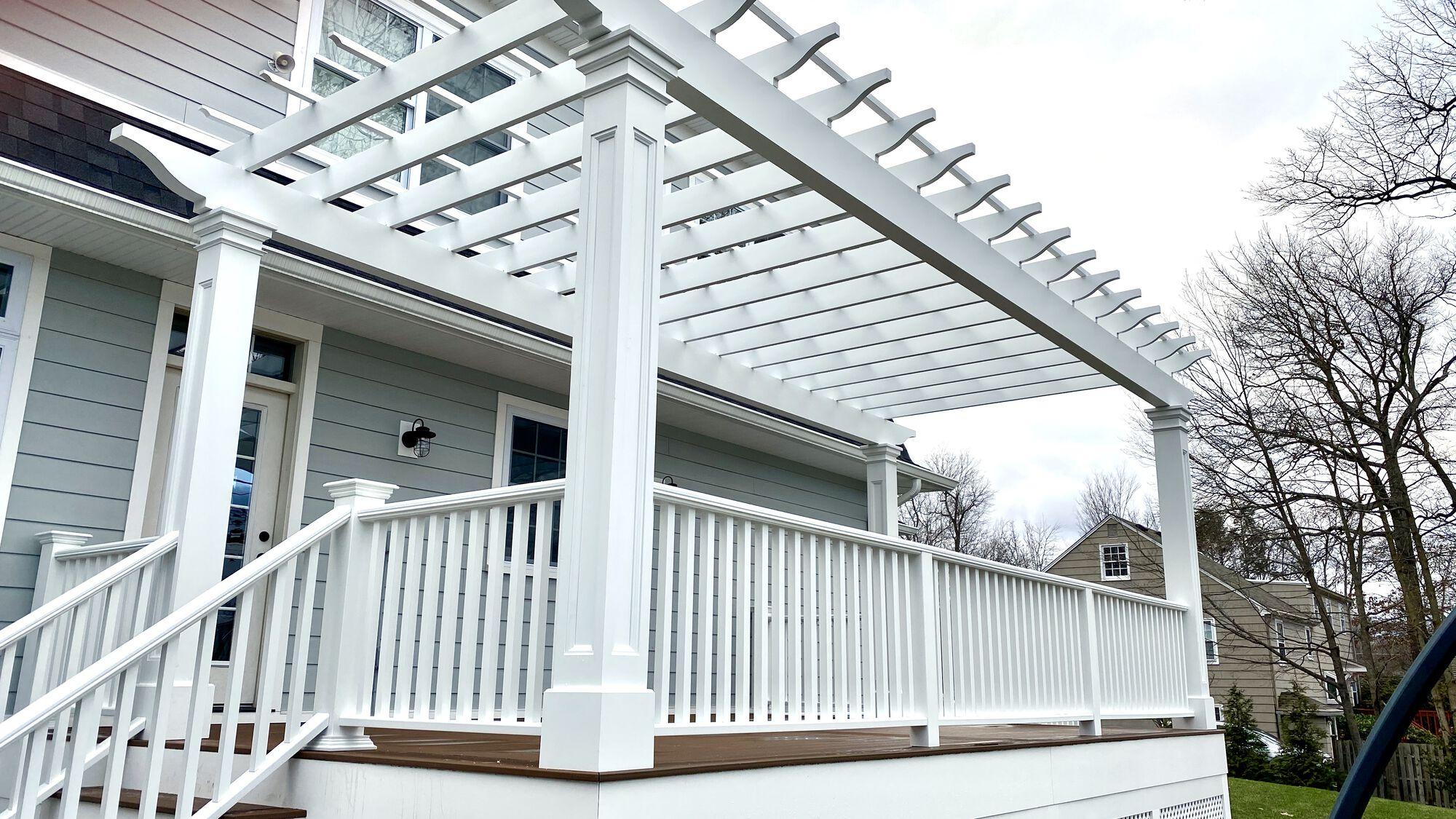 Custom Composite Pergola and Azek Deck in Chatham, Morris County NJ