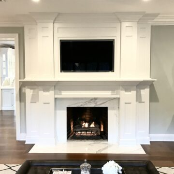Livingroom Remodeling with 8 Wide Plank White Oak Rift Only Flooring, Custom Millwork with Calacatta Stone in NJ
