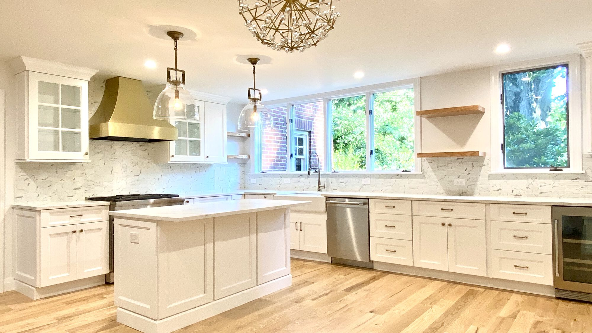 Modern Kitchen with Shaker Style Wood Cabinets, Open Shelving Brass Hood, Wood Floors, Thermador Appliances in West Orange, Essex County NJ