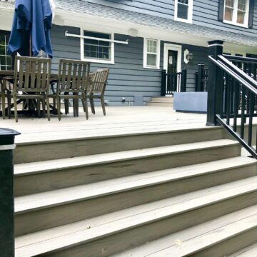 Timbertech Decking and Rails with LED Post Cap Lighting in Glen Rock, Bergen County NJ