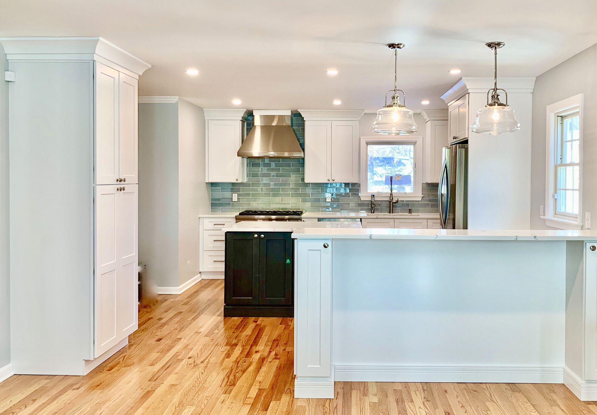 Updated Kitchen in Bergen County with Wall Between Kitchen and Dining Removed to allow for Open Floorplan