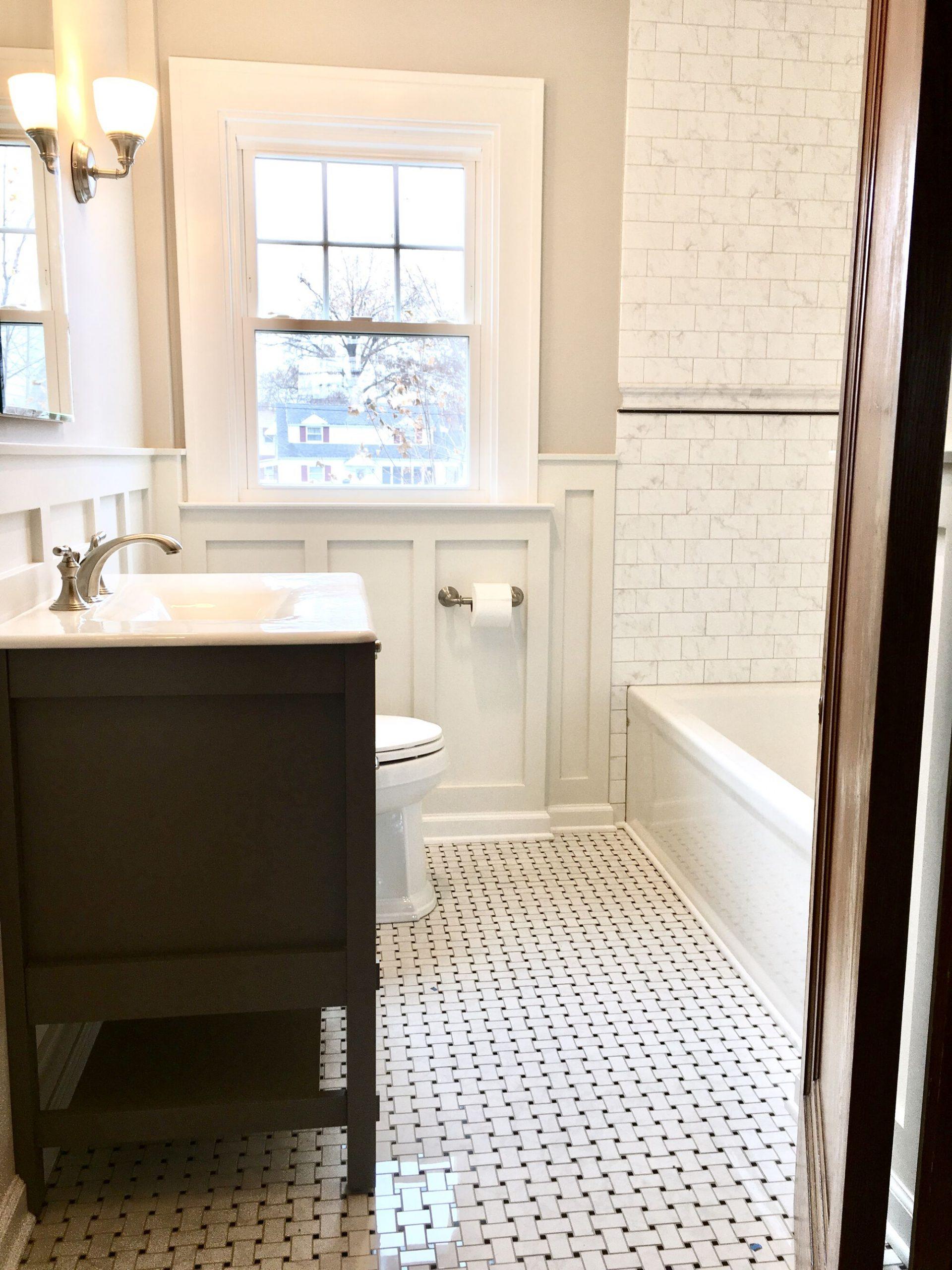 Retro Bath with Kohler Cabinetry, Porcelain Tile, MDF Wainscott Walls in Clifton, Essex County NJ