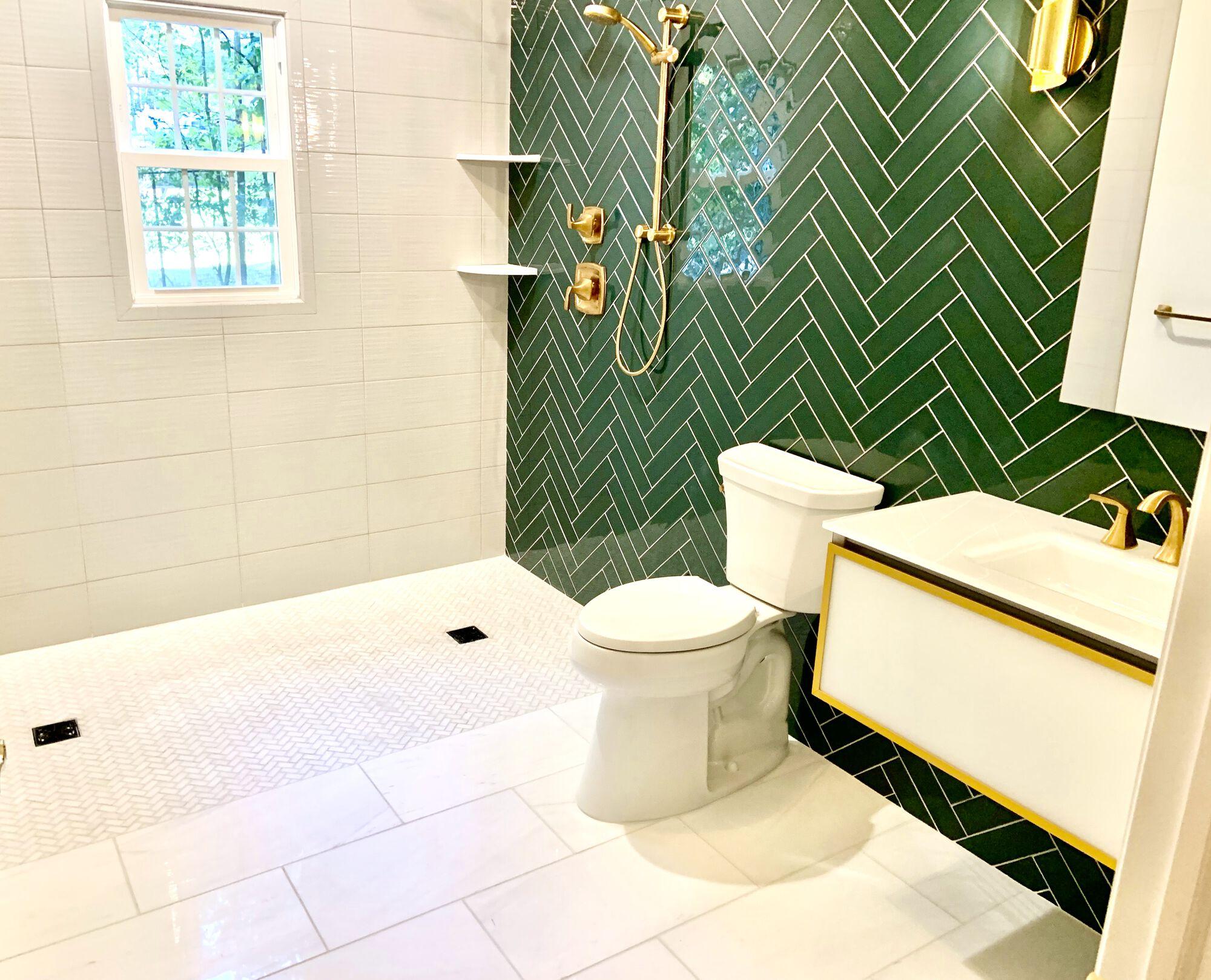 Robern Floating Vanity with Glass Top, Robert Medicine Cabinet, Moen Faucets, Glass Tile Herringbone Design in Greenbrook, Middlesex County NJ