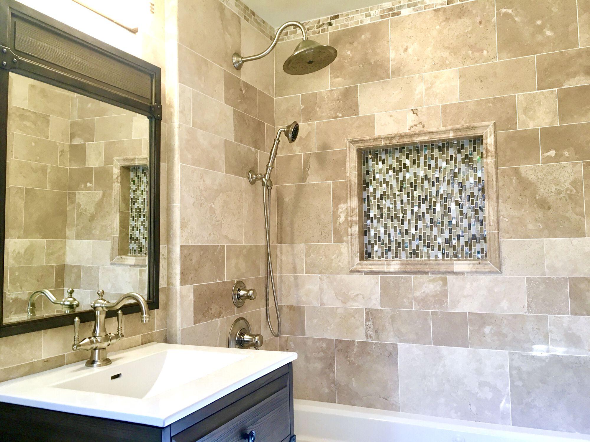 Short Hills Bath with Porcelain and Glass Tile, Kohler Fixtures in Satin Nickel Finish