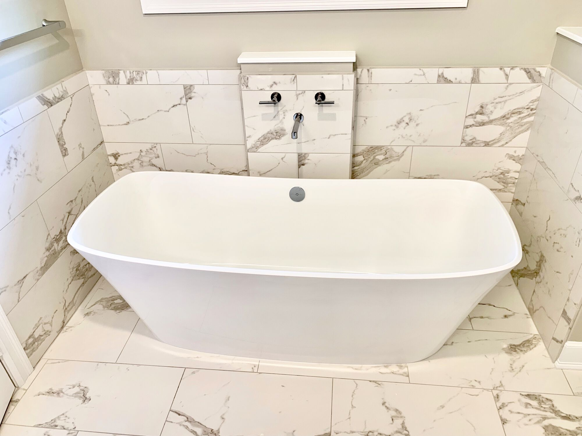 South Orange, Essex County NJ Soaking Tub with Wall Mounted Faucet, Porcelain 12 x 24 Tiles in Essex County NJ